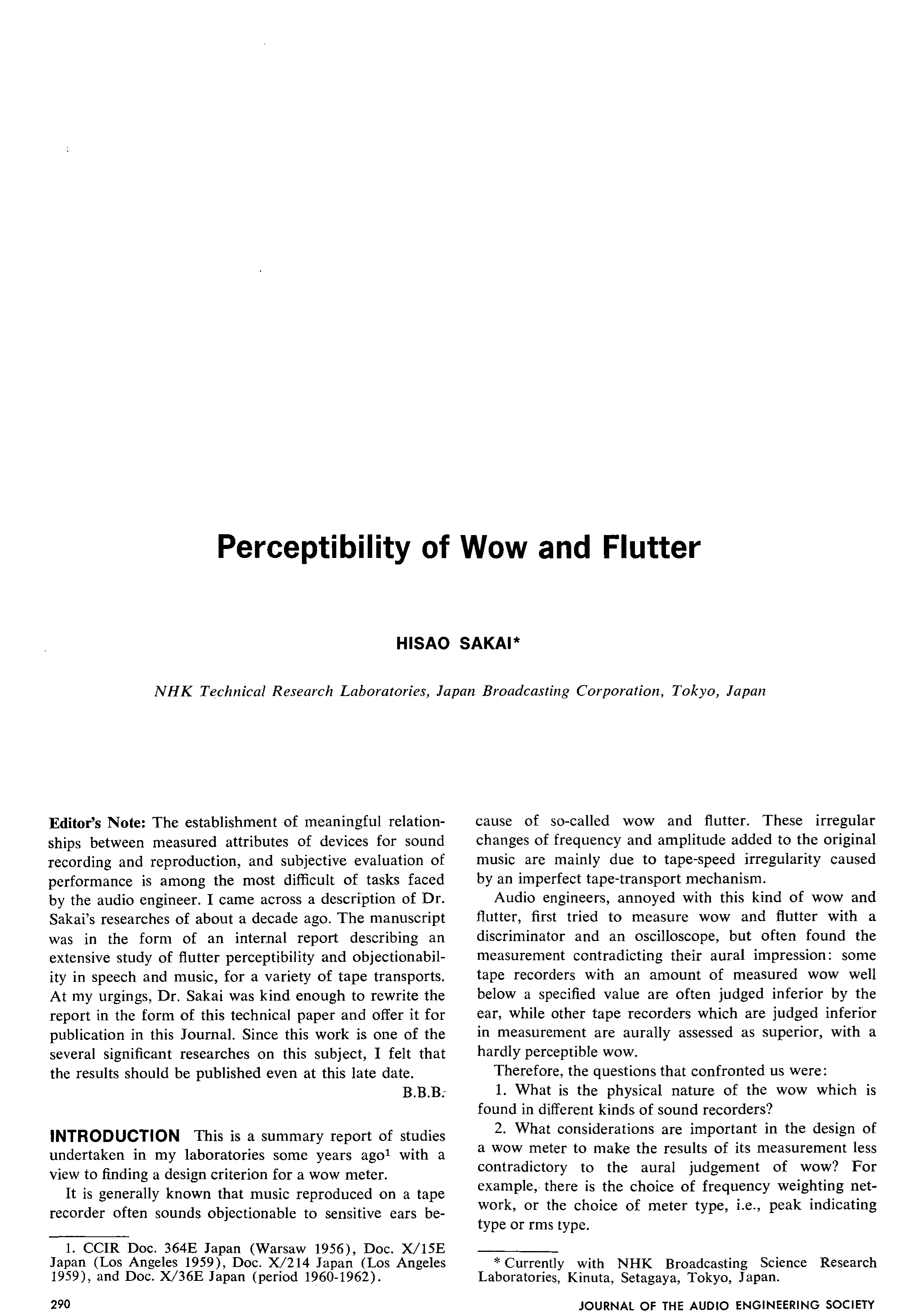 AES E-Library » Perceptibility of Wow and Flutter