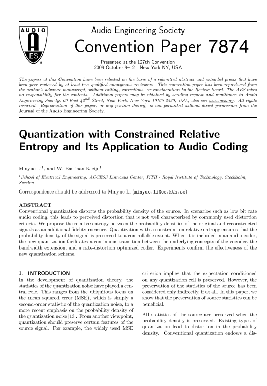 AES E-Library » Quantization with Constrained Relative