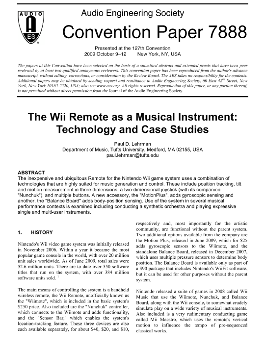 AES E-Library » The Wii Remote as a Musical Instrument: Technology