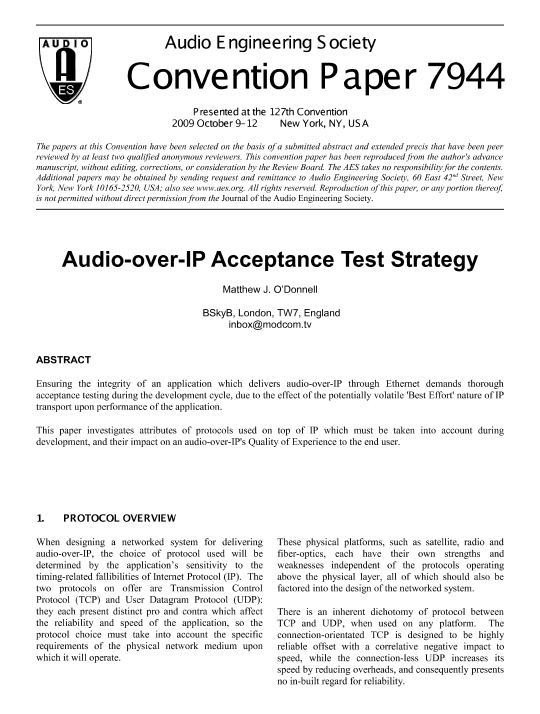 AES E-Library » Audio-Over-IP Acceptance Test Strategy