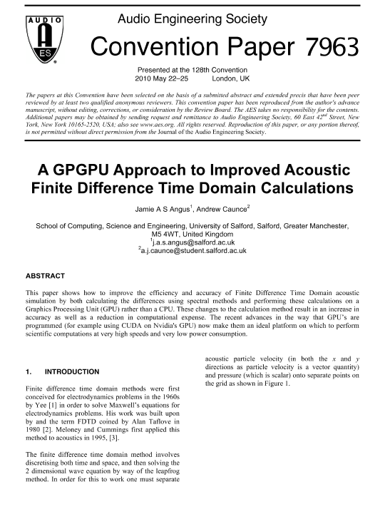 AES E-Library » A GPGPU Approach to Improved Acoustic Finite