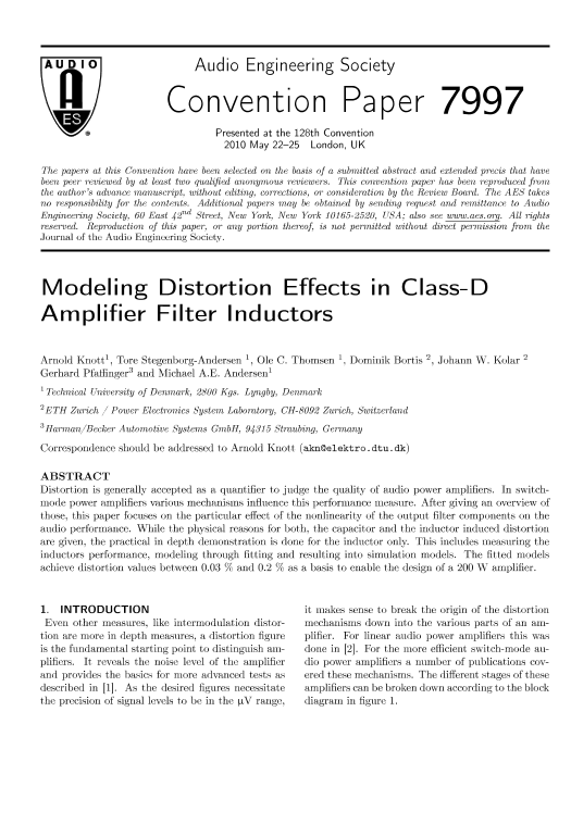 AES E-Library » Modeling Distortion Effects in Class-D Amplifier