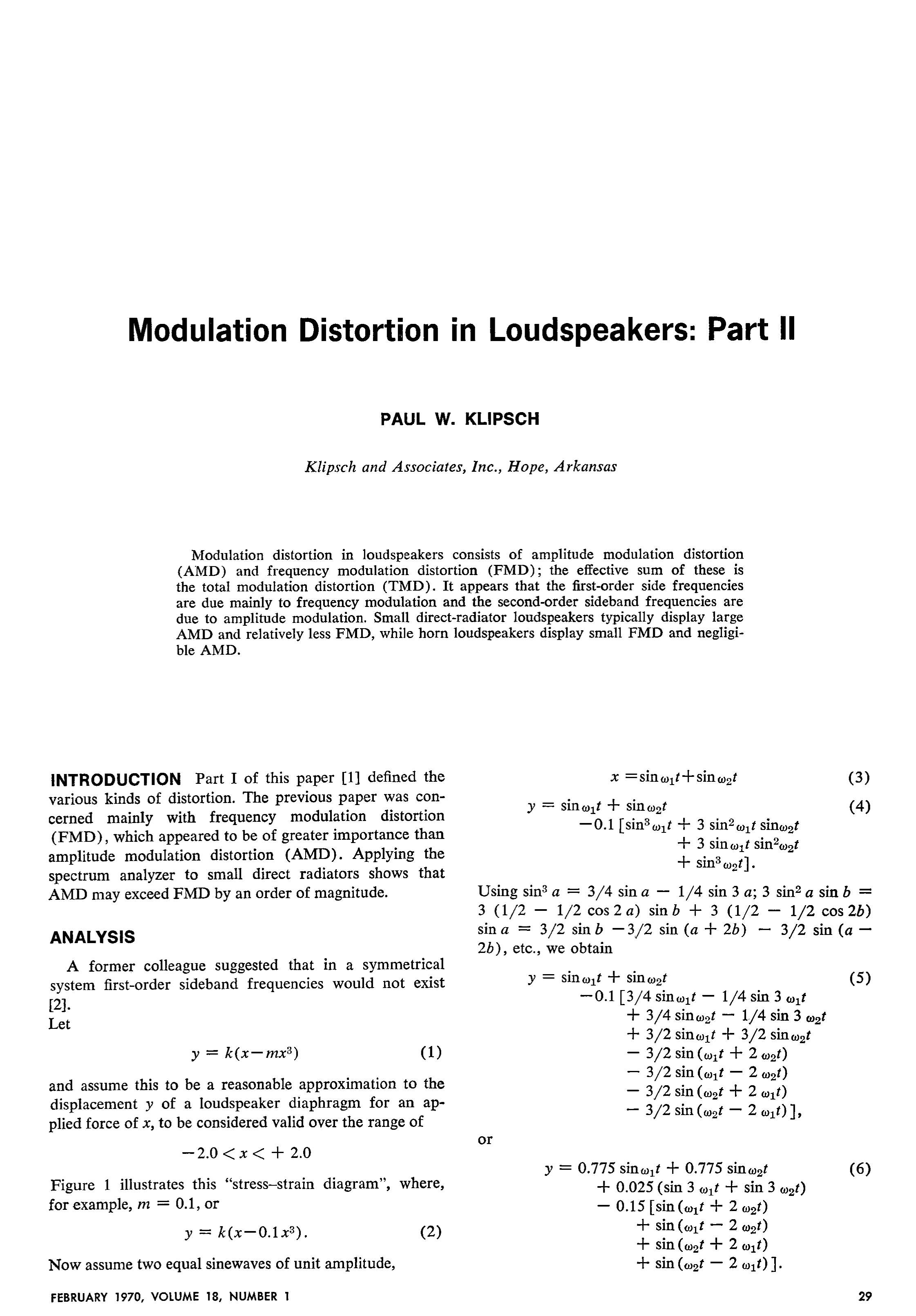 AES E-Library » Modulation Distortion in Loudspeakers: Part 2