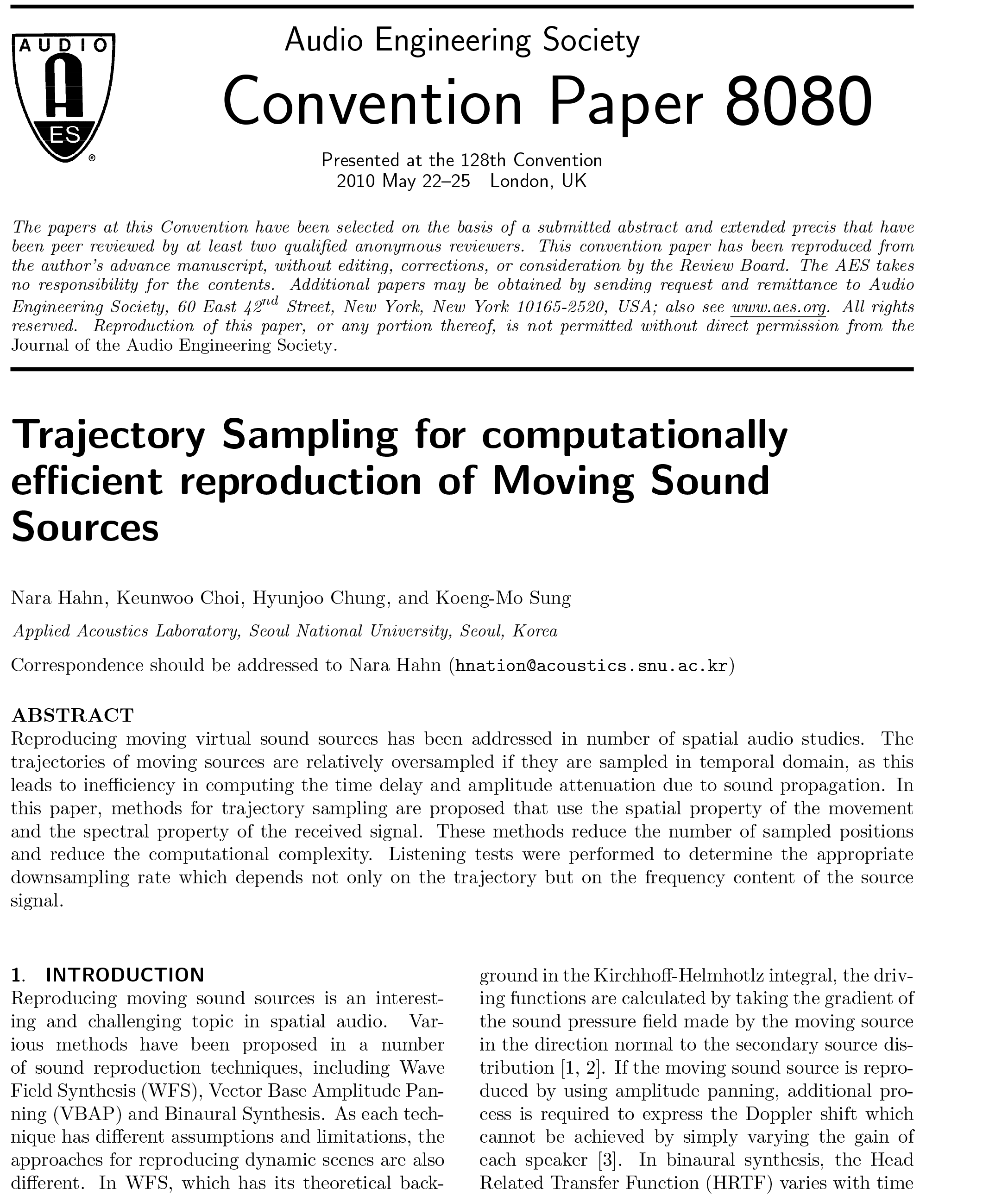AES E-Library » Trajectory Sampling for Computationally Efficient