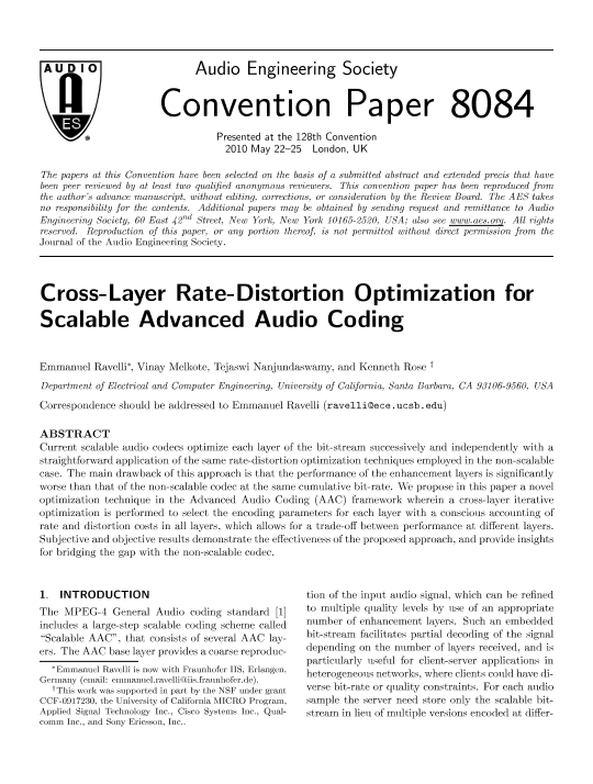 AES E-Library » Cross-Layer Rate-Distortion Optimization for