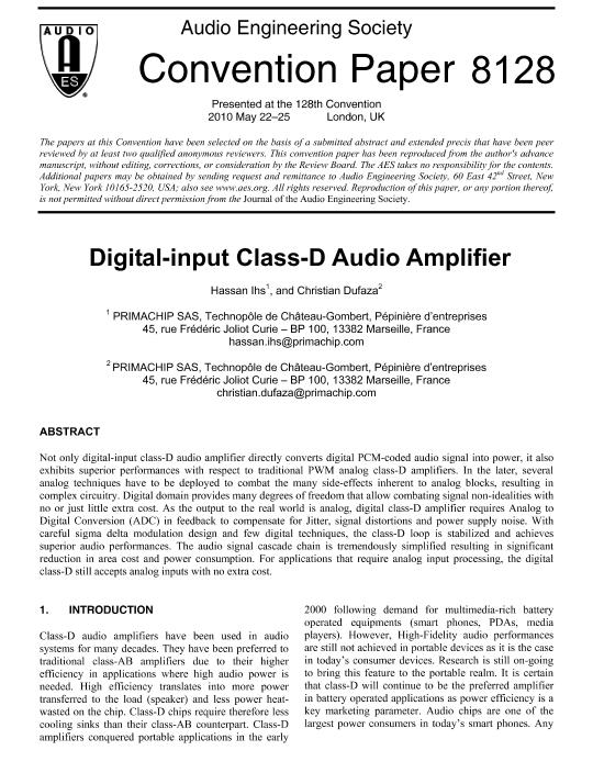 AES E-Library » Digital-Input Class-D Audio Amplifier