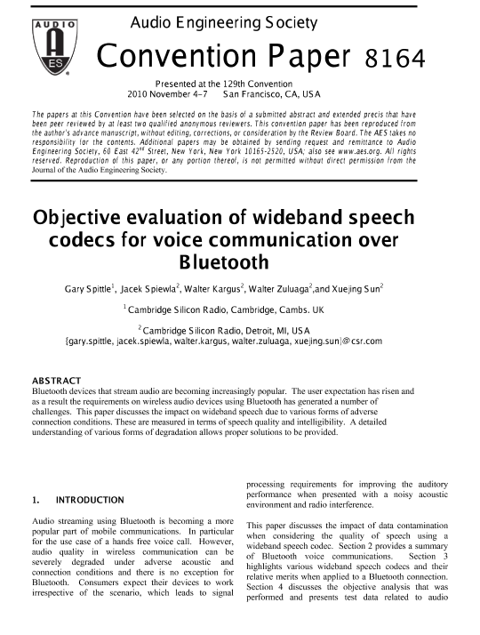 AES E-Library » Objective Evaluation of Wideband Speech
