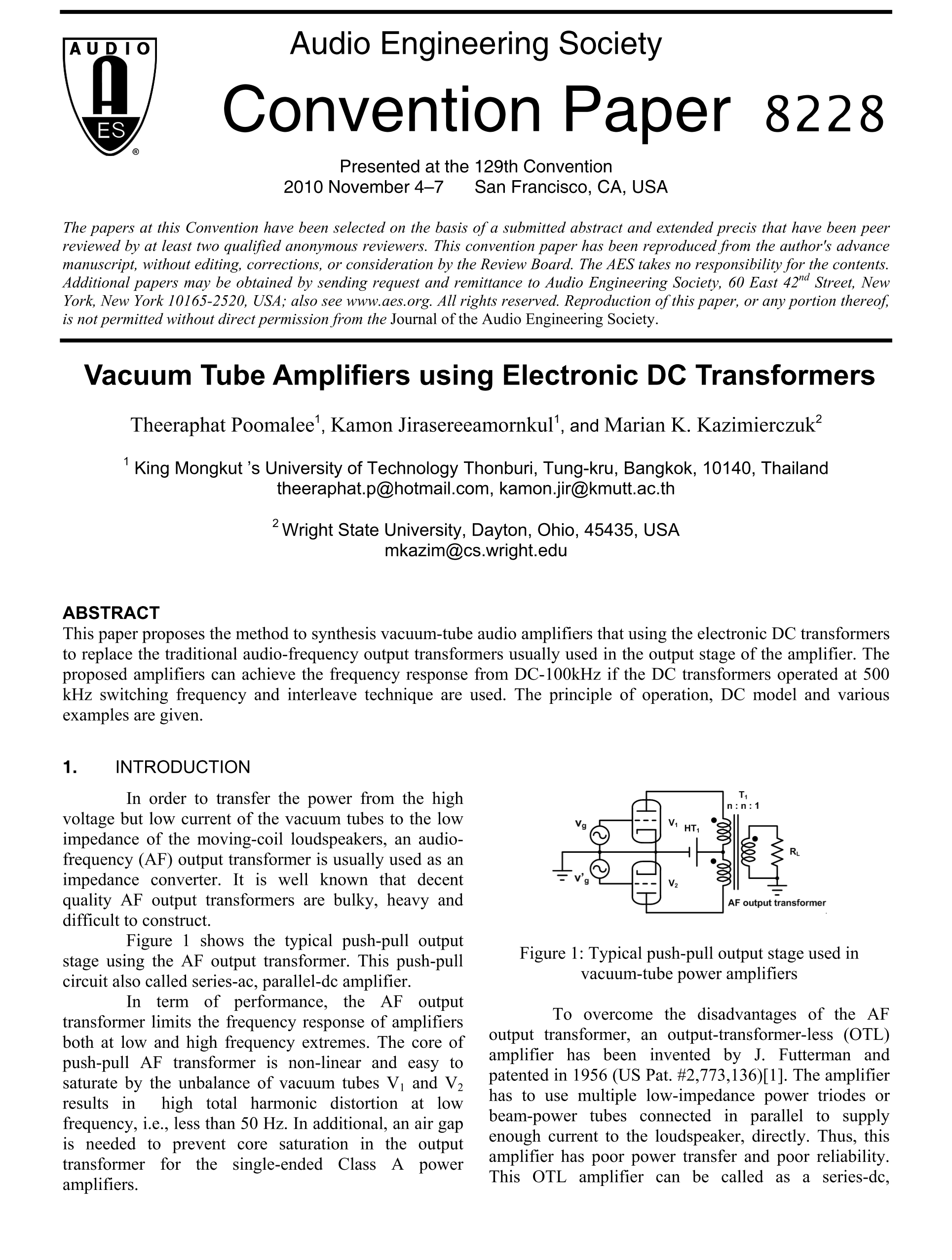 Aes E Library Vacuum Tube Amplifiers Using Electronic Dc Transformers Society 16 Watt Bridge Amplifier Circuit Schematic