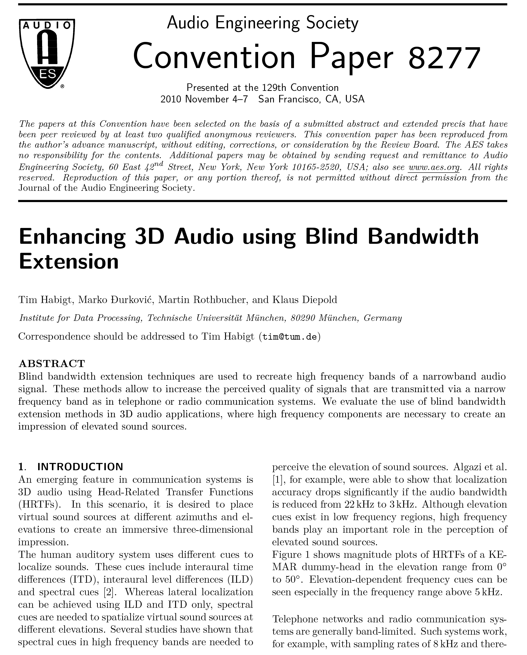 AES E-Library » Enhancing 3-D Audio Using Blind Bandwidth Extension