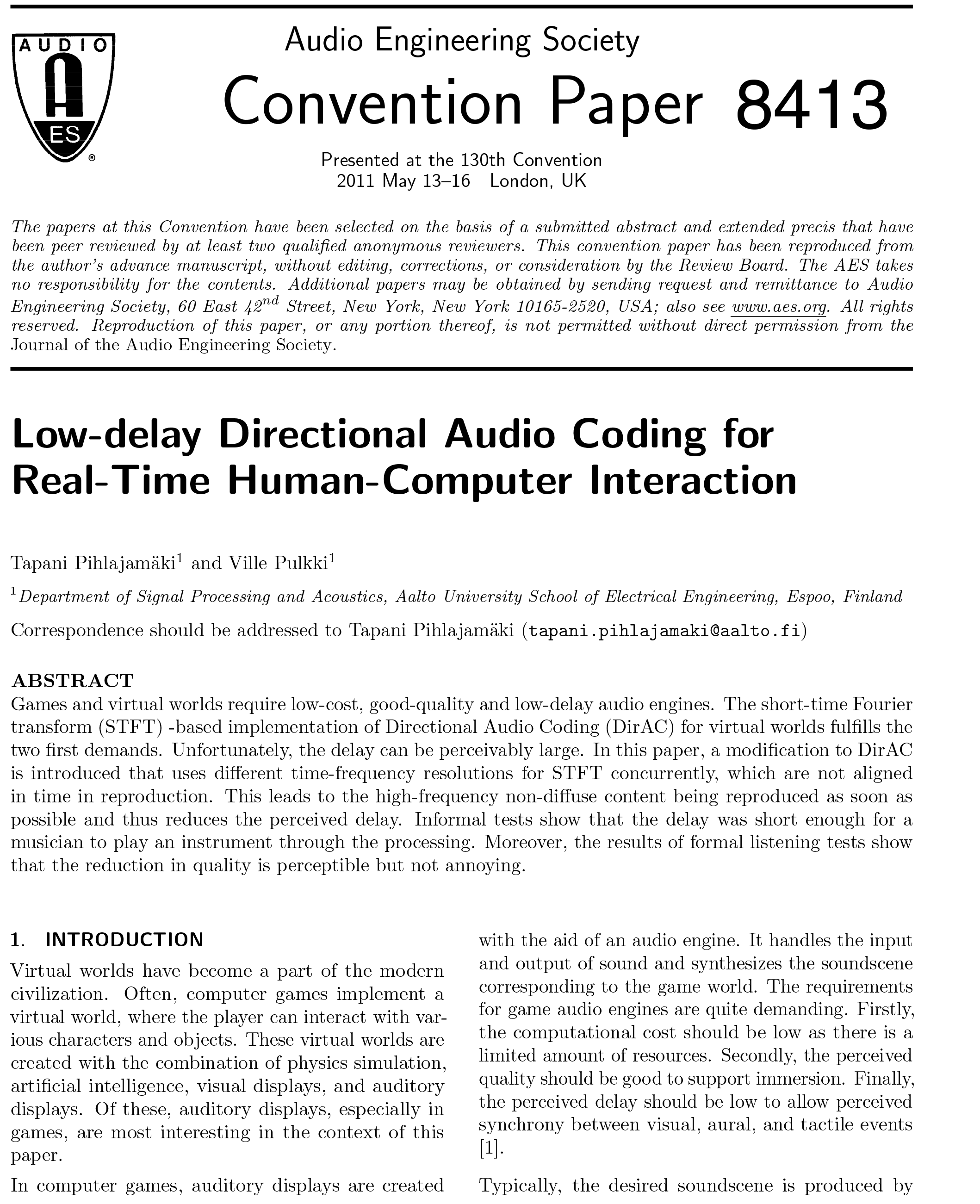 835720b21e6f AES E-Library » Low-Delay Directional Audio Coding for Real-Time ...