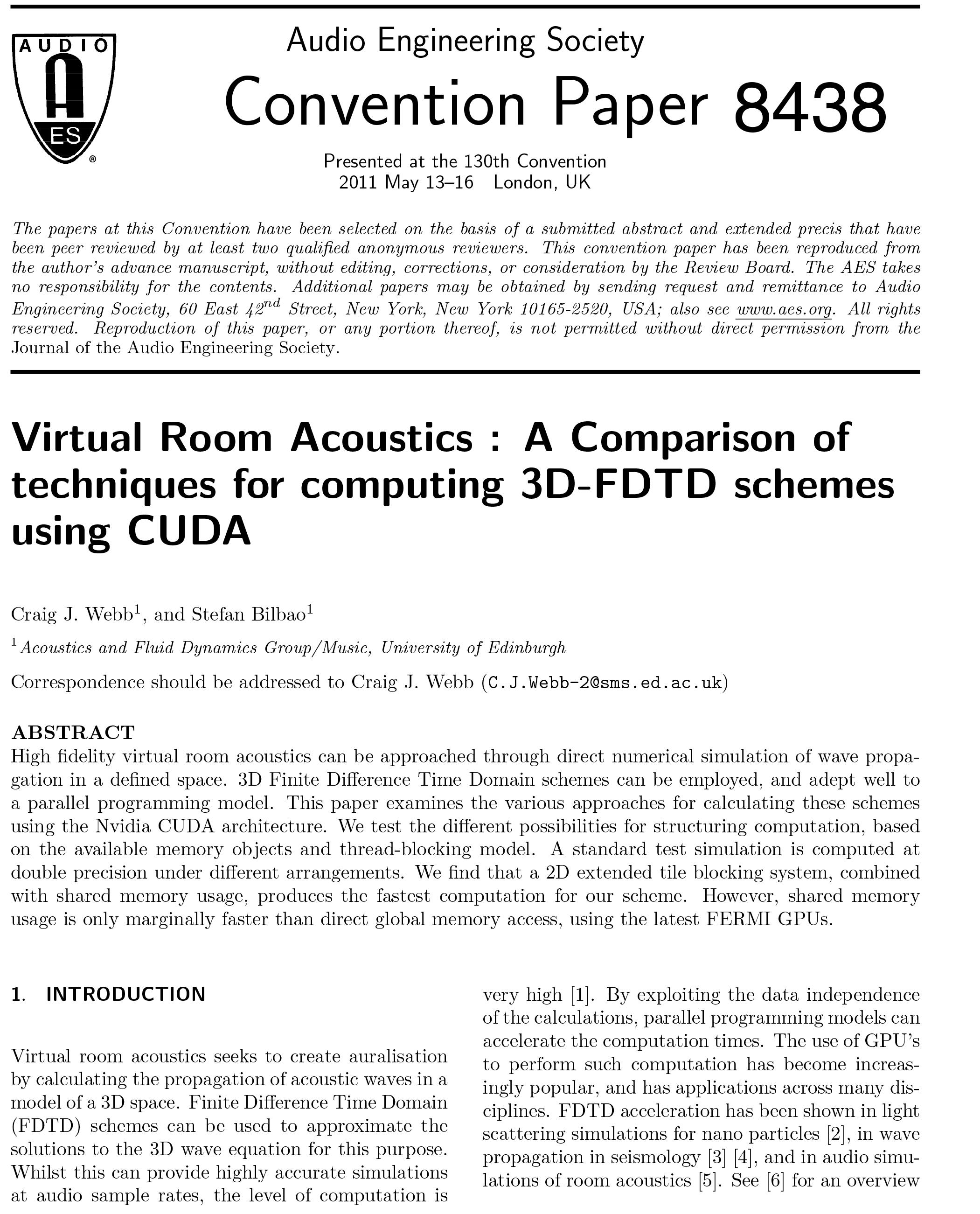 AES E-Library » Virtual Room Acoustics: A Comparison of