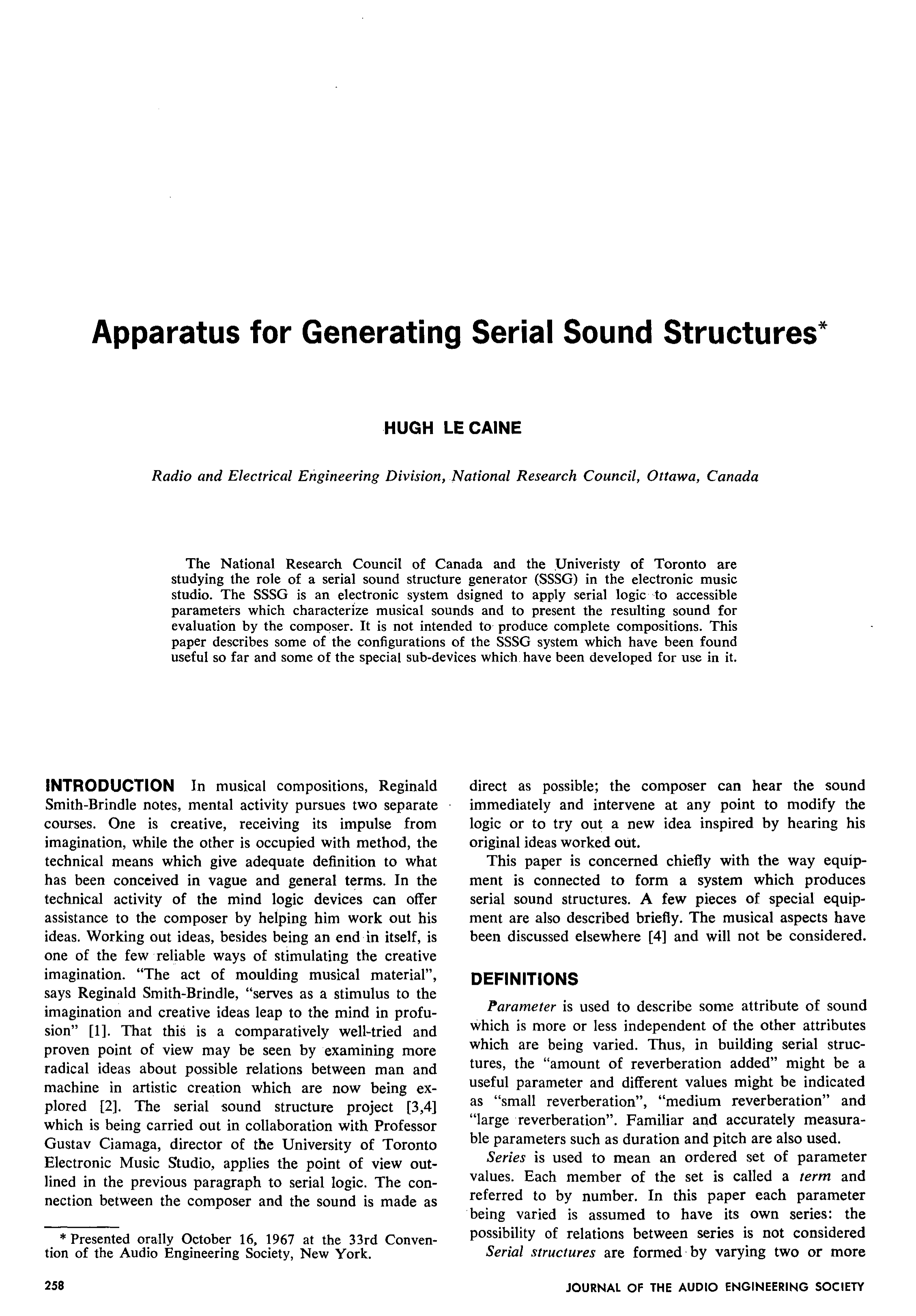Aes E Library Apparatus For Generating Serial Sound Structures Fig 2nd Simple Telephone Hybrid Circuit