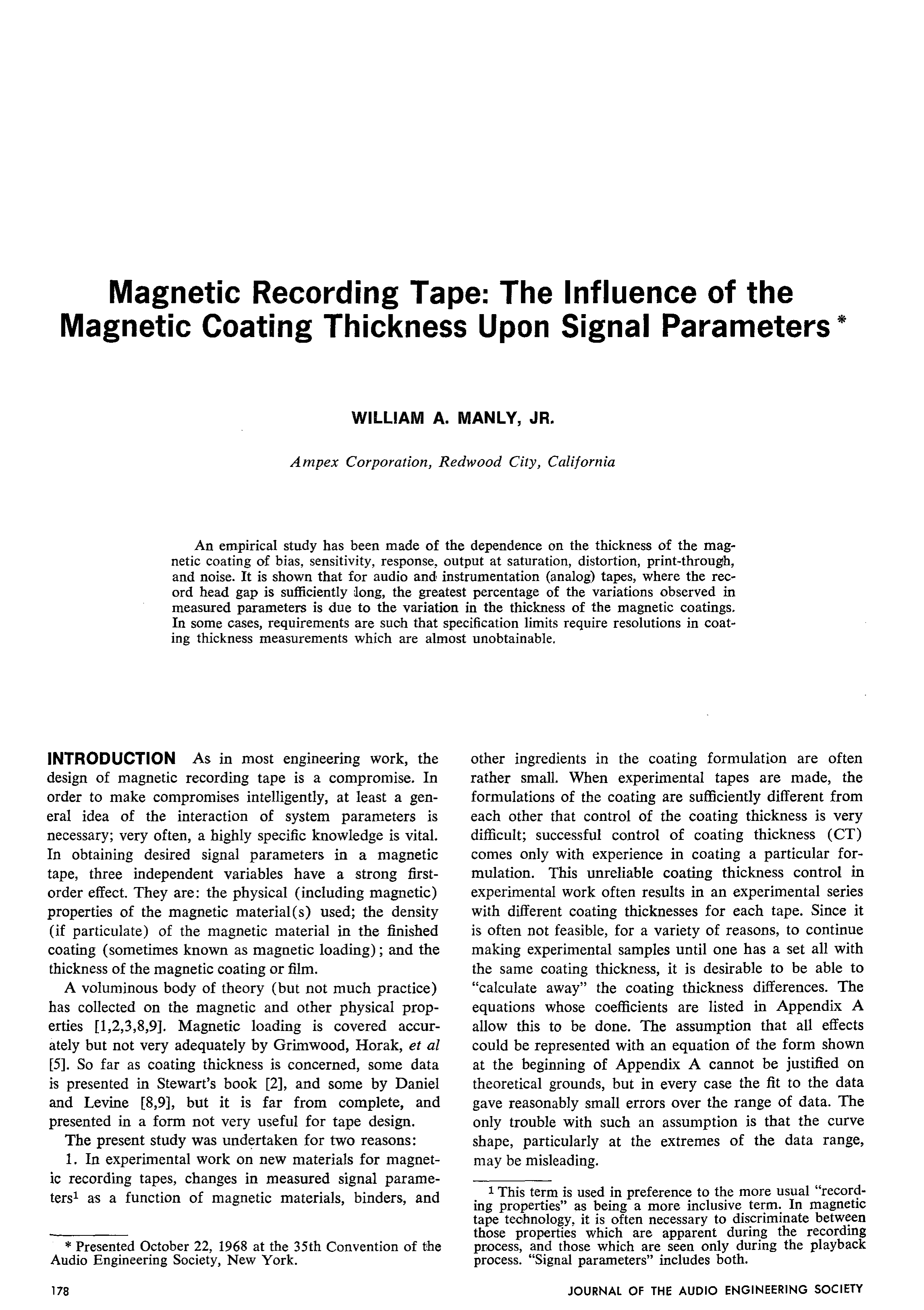 d95b603762e337 AES E-Library » Magnetic Recording Tape  The Influence of the Magnetic  Coating Thickness Upon Signal Parameters