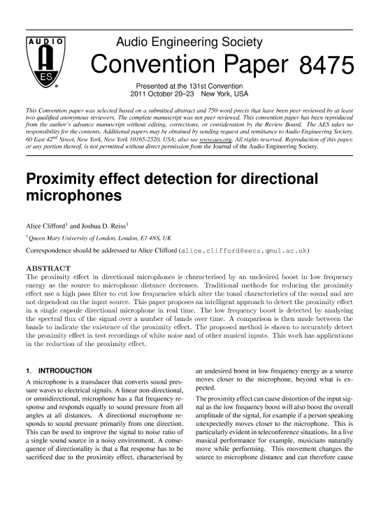 AES E-Library » Proximity Effect Detection for Directional Microphones