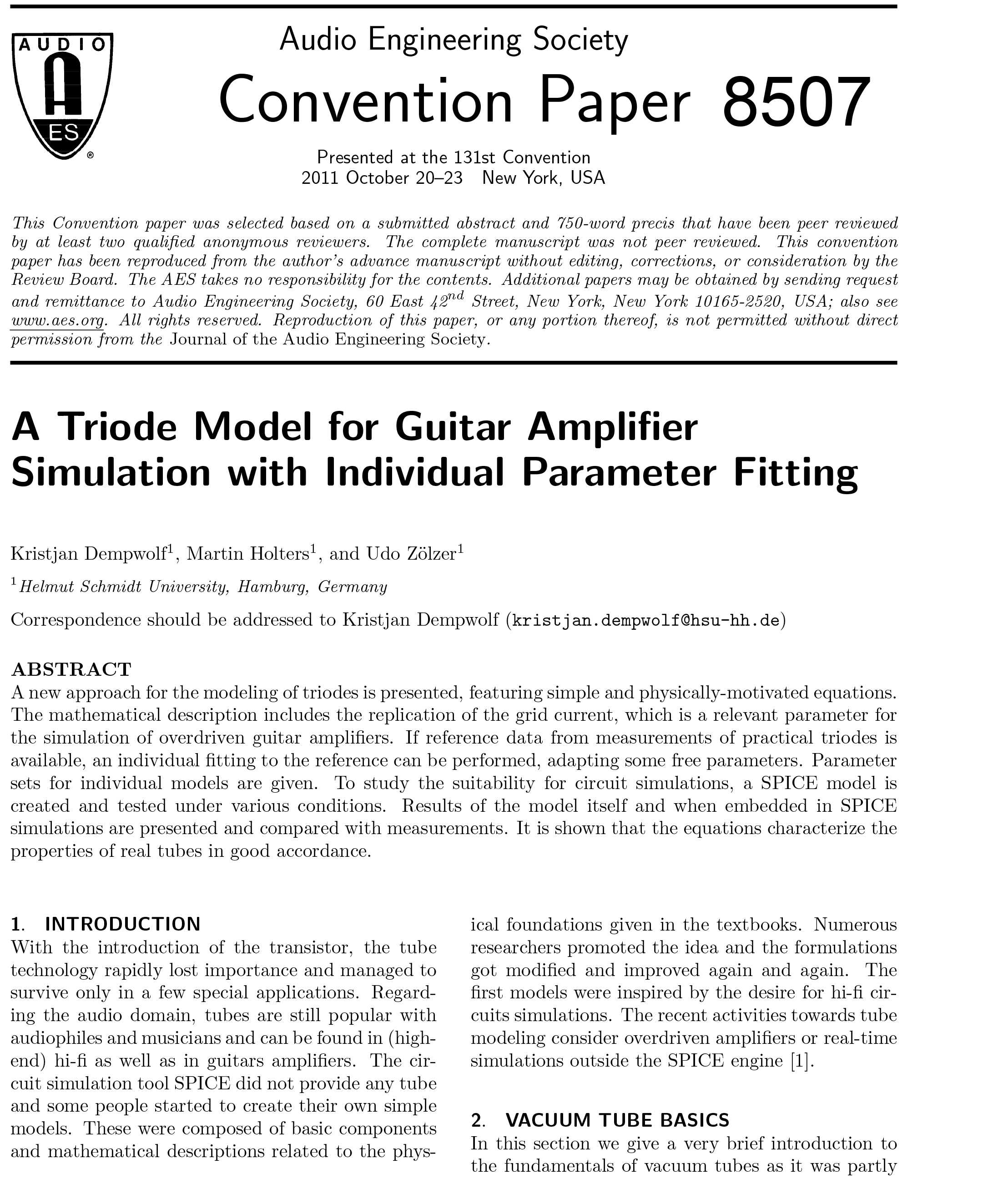 AES E-Library » A Triode Model for Guitar Amplifier Simulation with