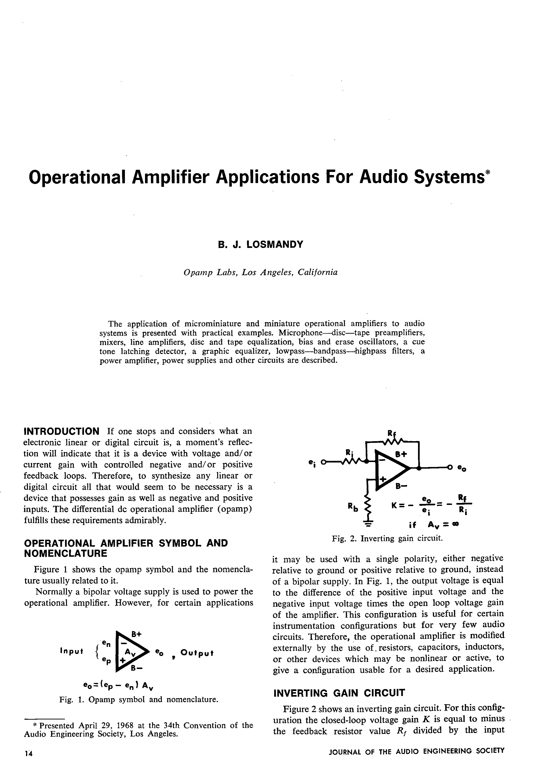 Aes E Library Operational Amplifier Applications For Audio Systems Amp Circuit Is The Noninverting A