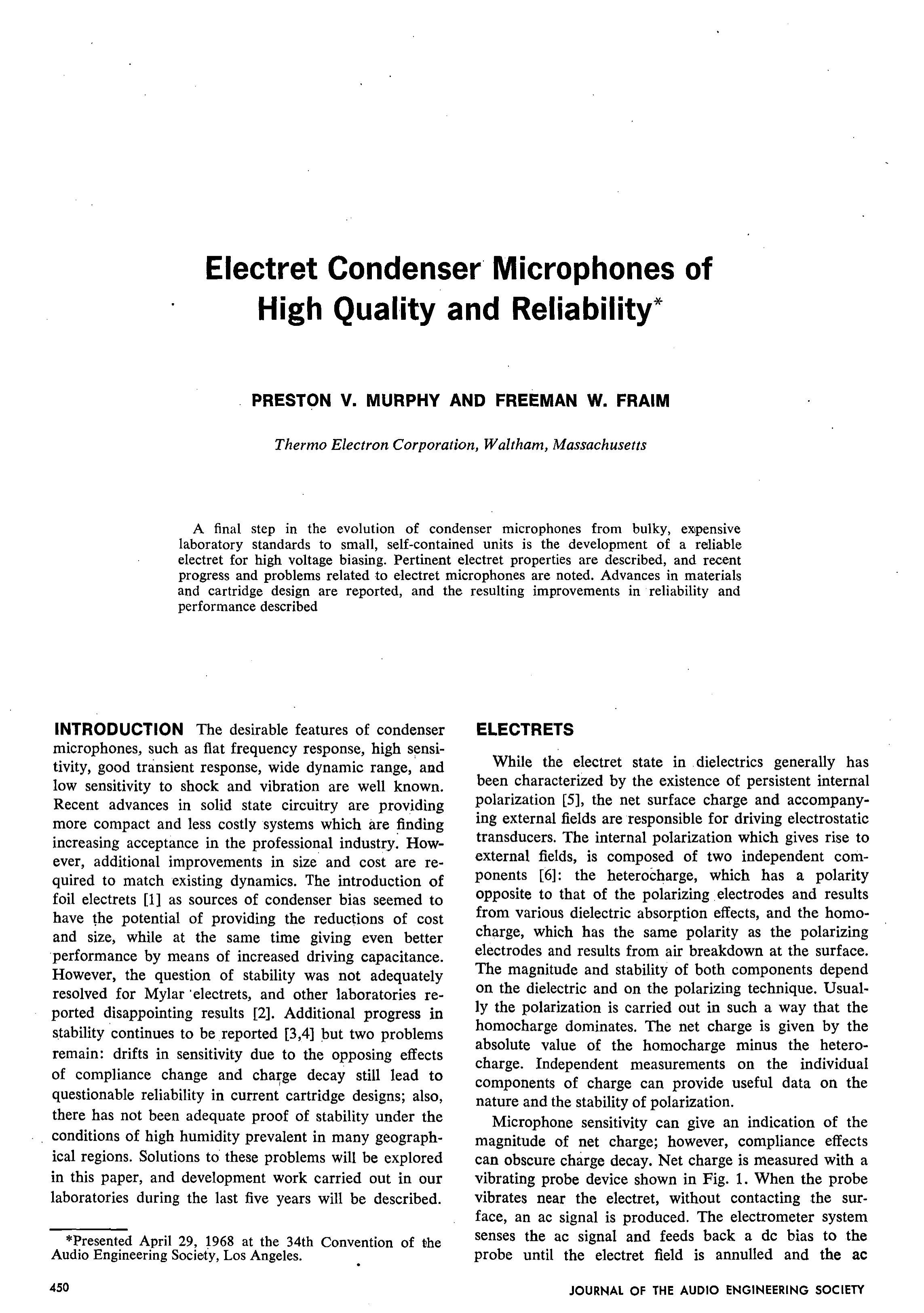 AES E Library Electret Condenser Microphones of High Quality and