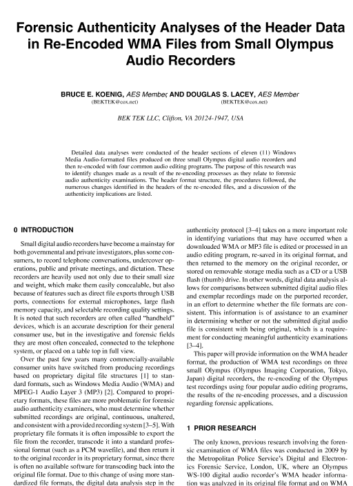 AES E-Library » Forensic Authenticity Analyses of the Header Data in