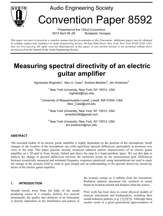 AES E-Library » Measuring Spectral Directivity of an Electric Guitar