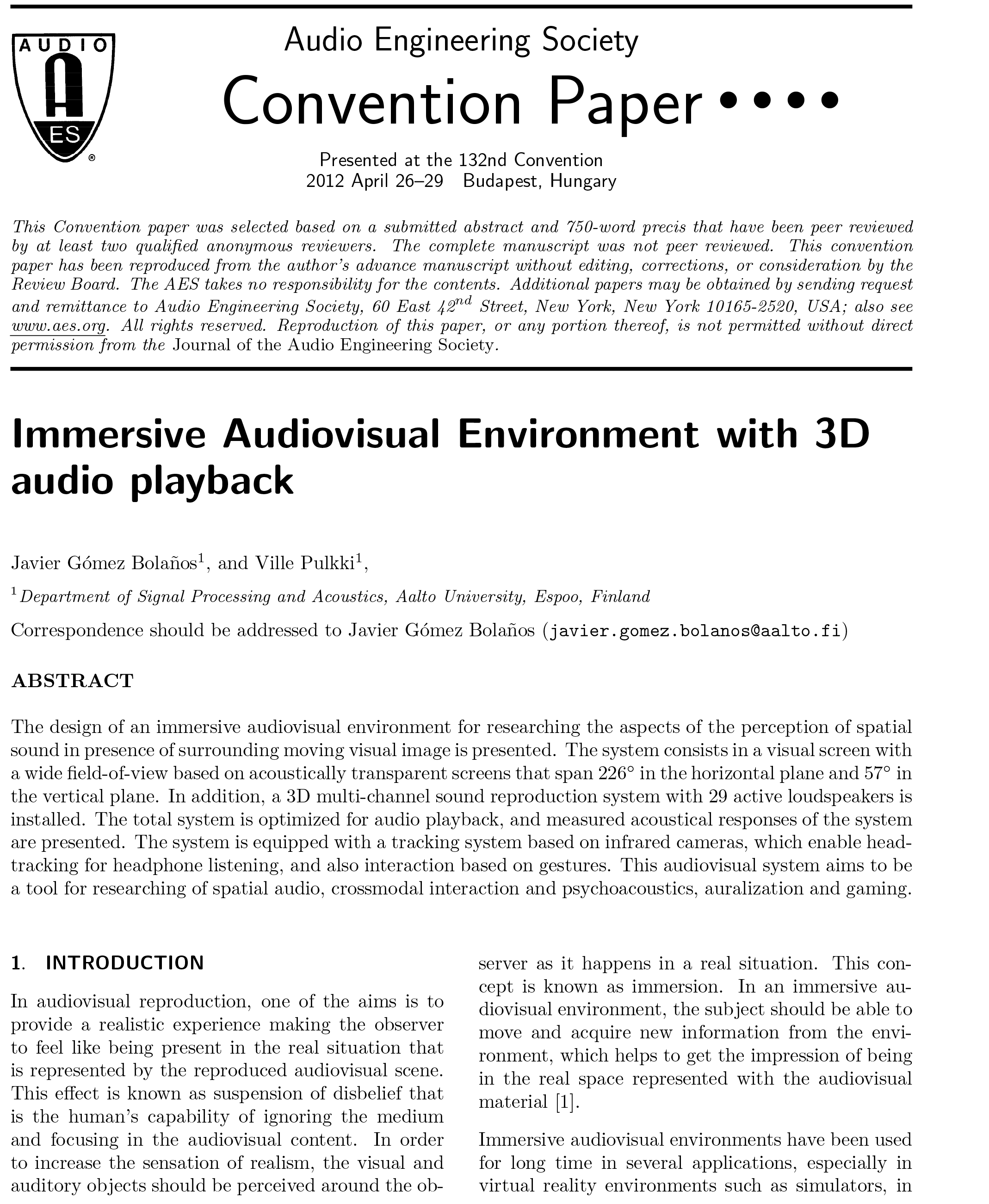 AES E-Library » Immersive Audiovisual Environment with 3D ...