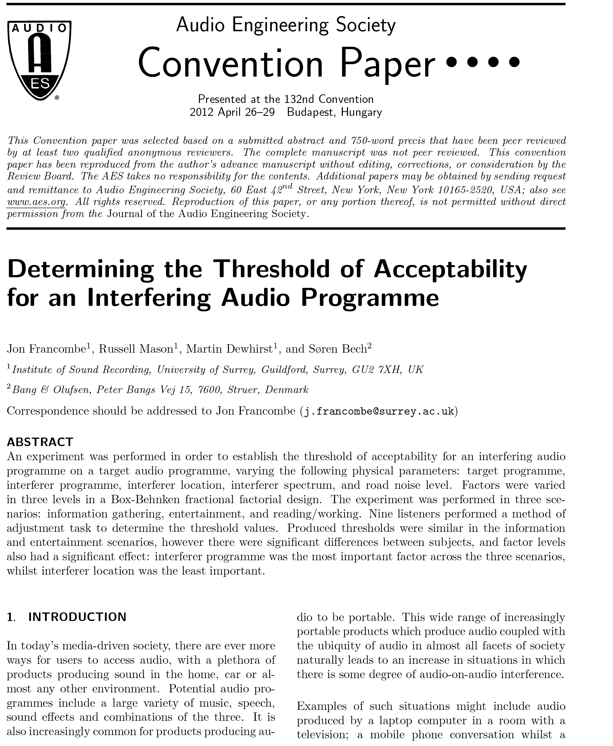 AES E-Library » Determining the Threshold of Acceptability