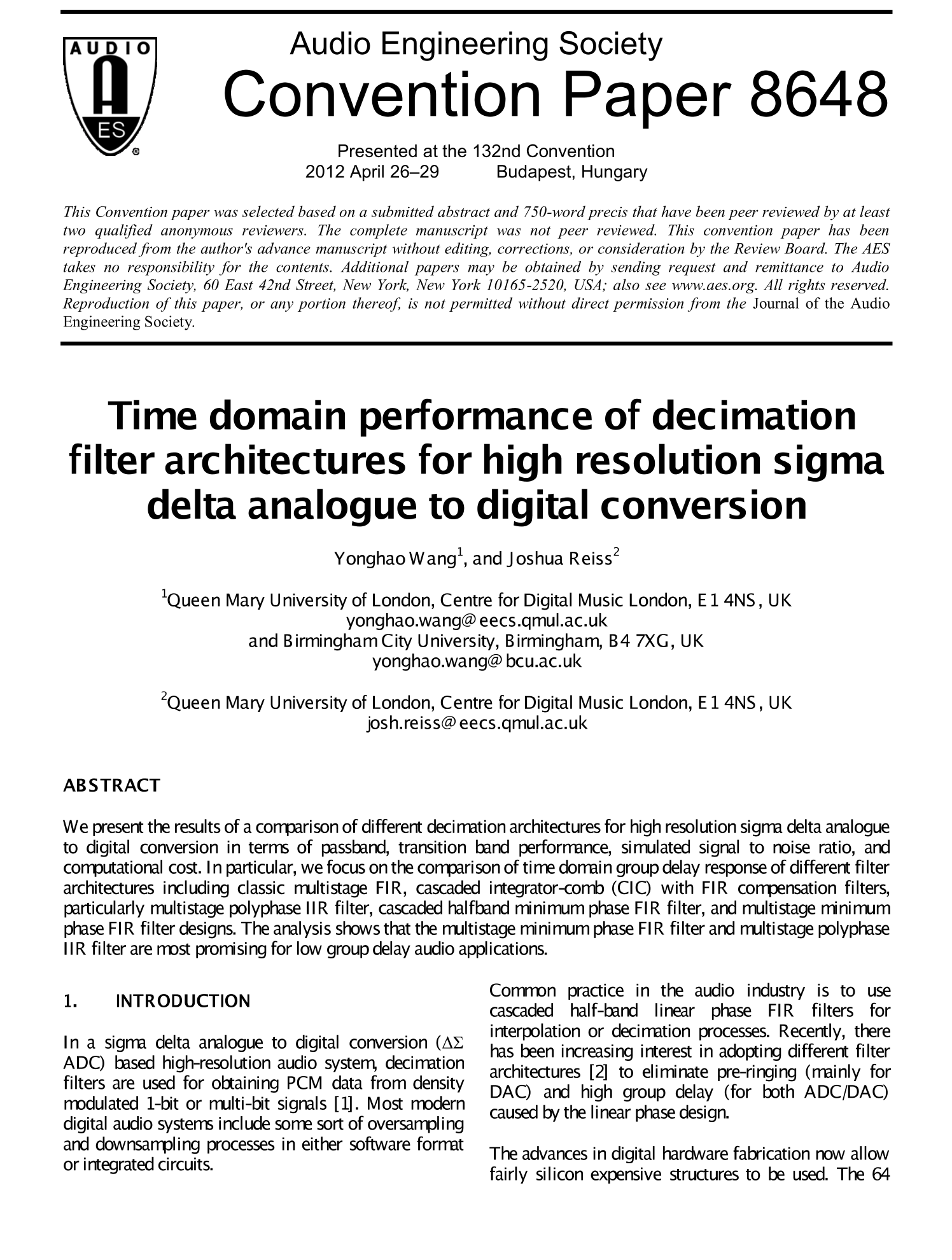 Aes E Library Time Domain Performance Of Decimation Filter Normally Analoguetodigital Converter Adc Needs Interfacing Architectures For High Resolution Sigma Delta Analogue To Digital Conversion