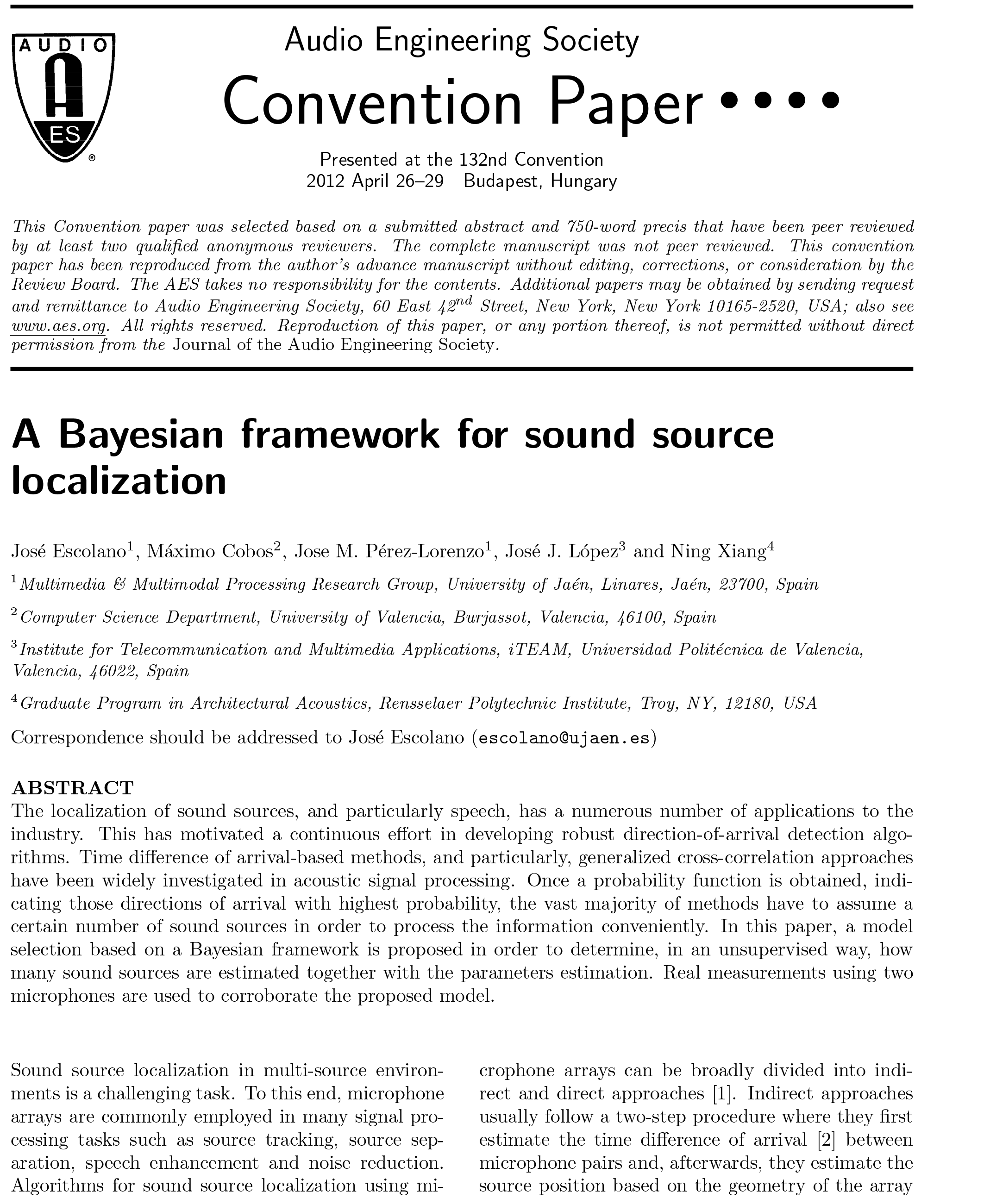 AES E-Library » A Bayesian Framework for Sound Source