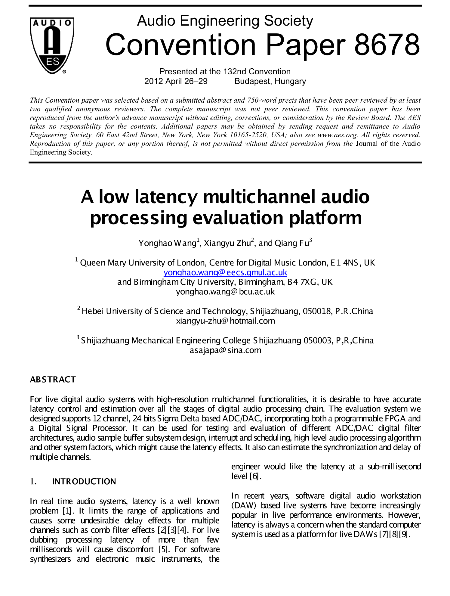 Aes E Library A Low Latency Multichannel Audio Processing Digital Platform Evaluation