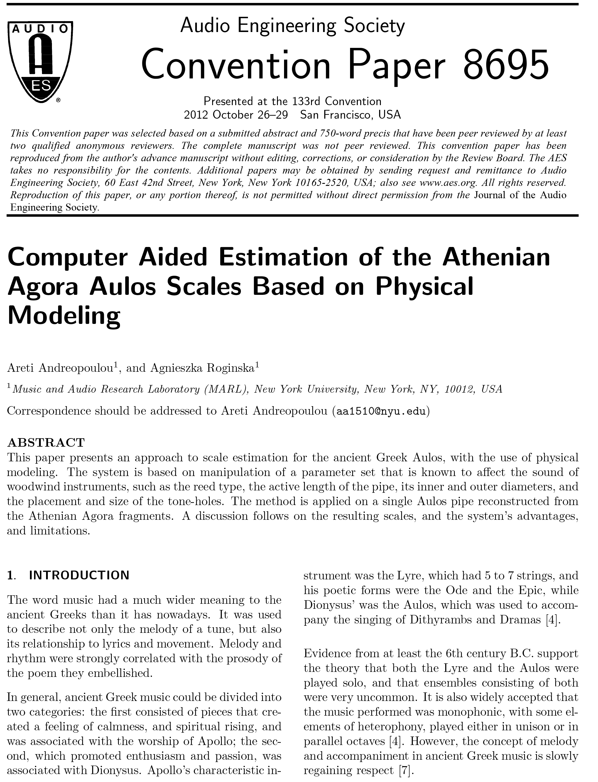 AES E-Library » Computer-Aided Estimation of the Athenian Agora