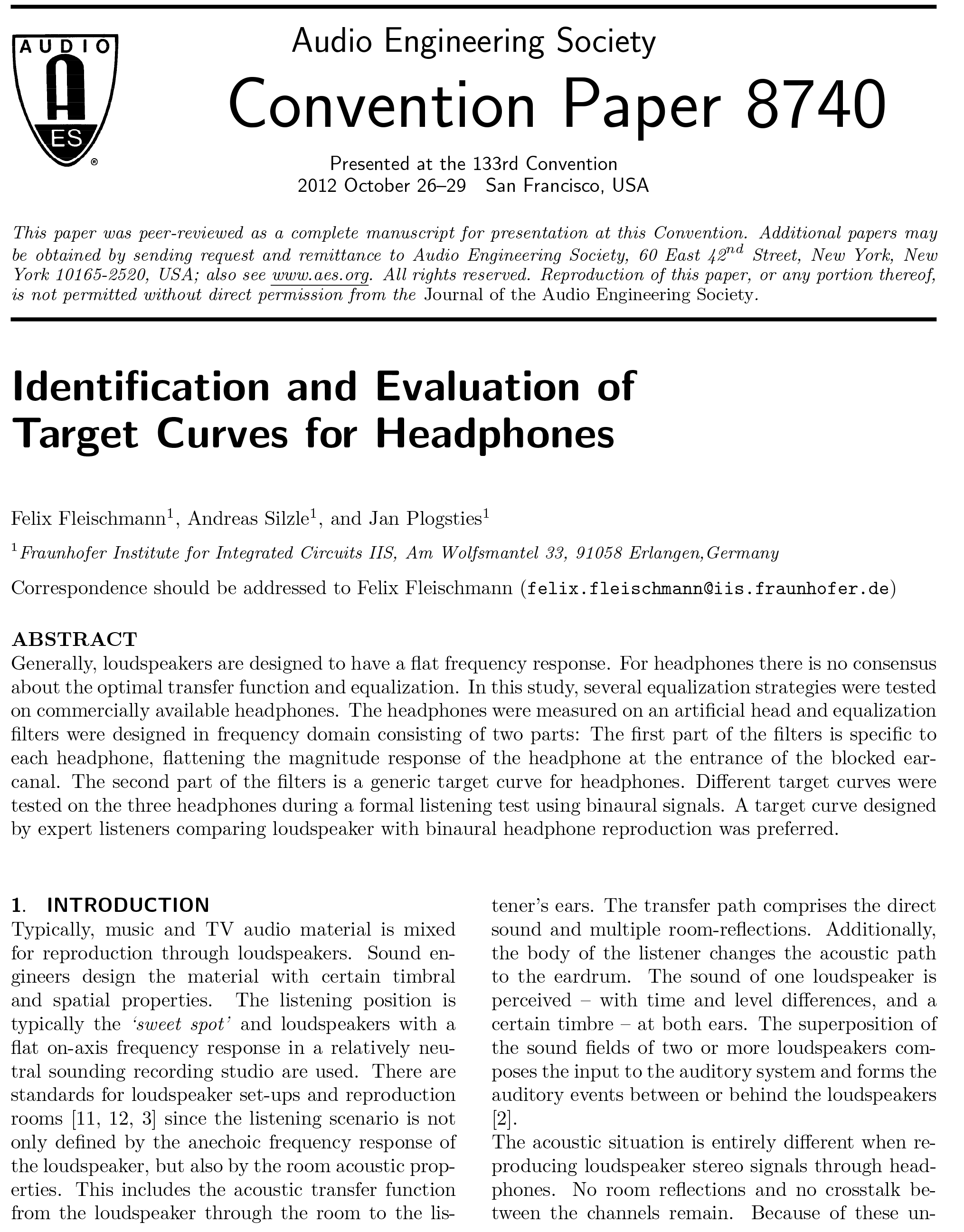 AES E-Library » Identification and Evaluation of Target Curves for ...