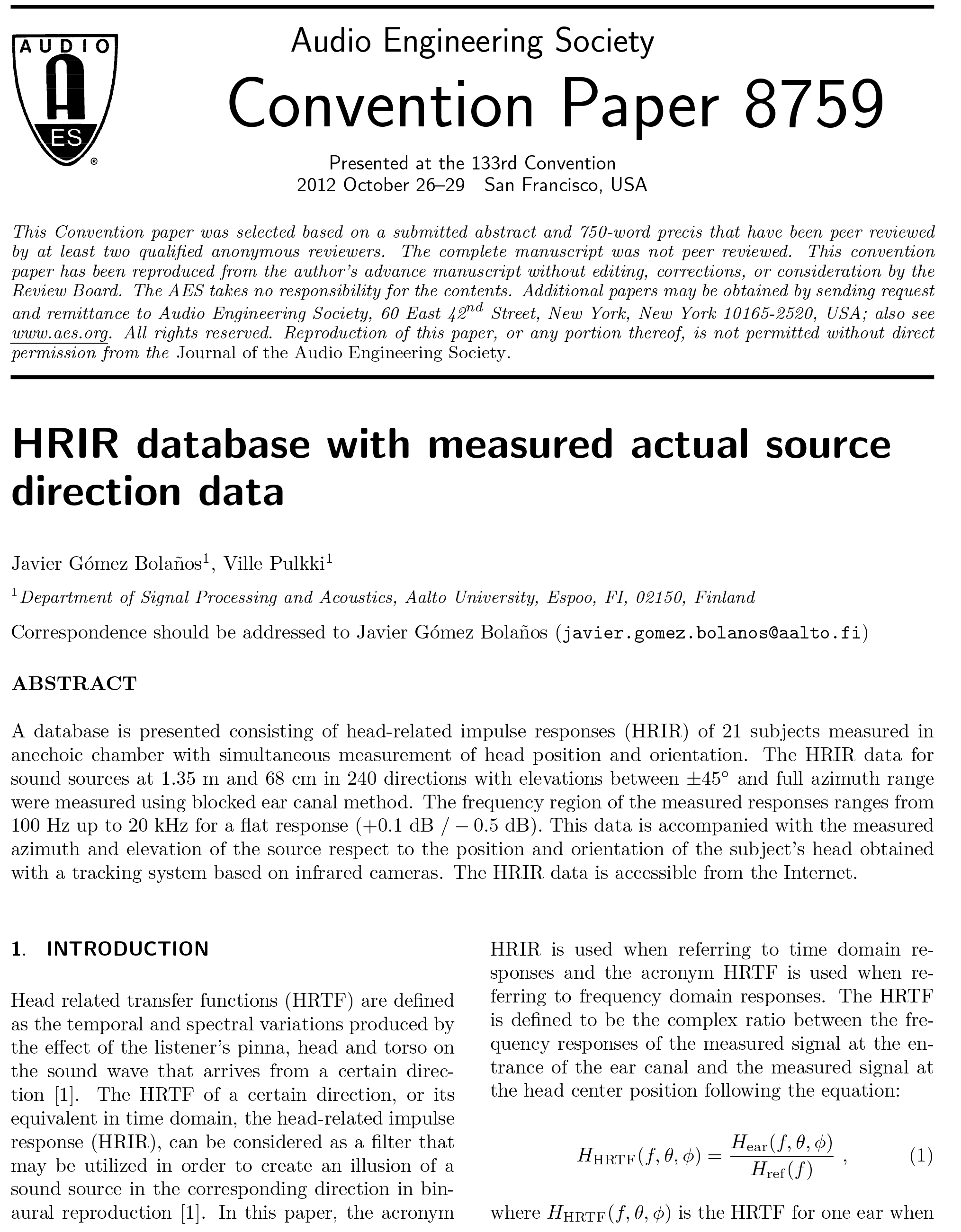 AES E-Library » HRIR Database with Measured Actual Source Direction Data