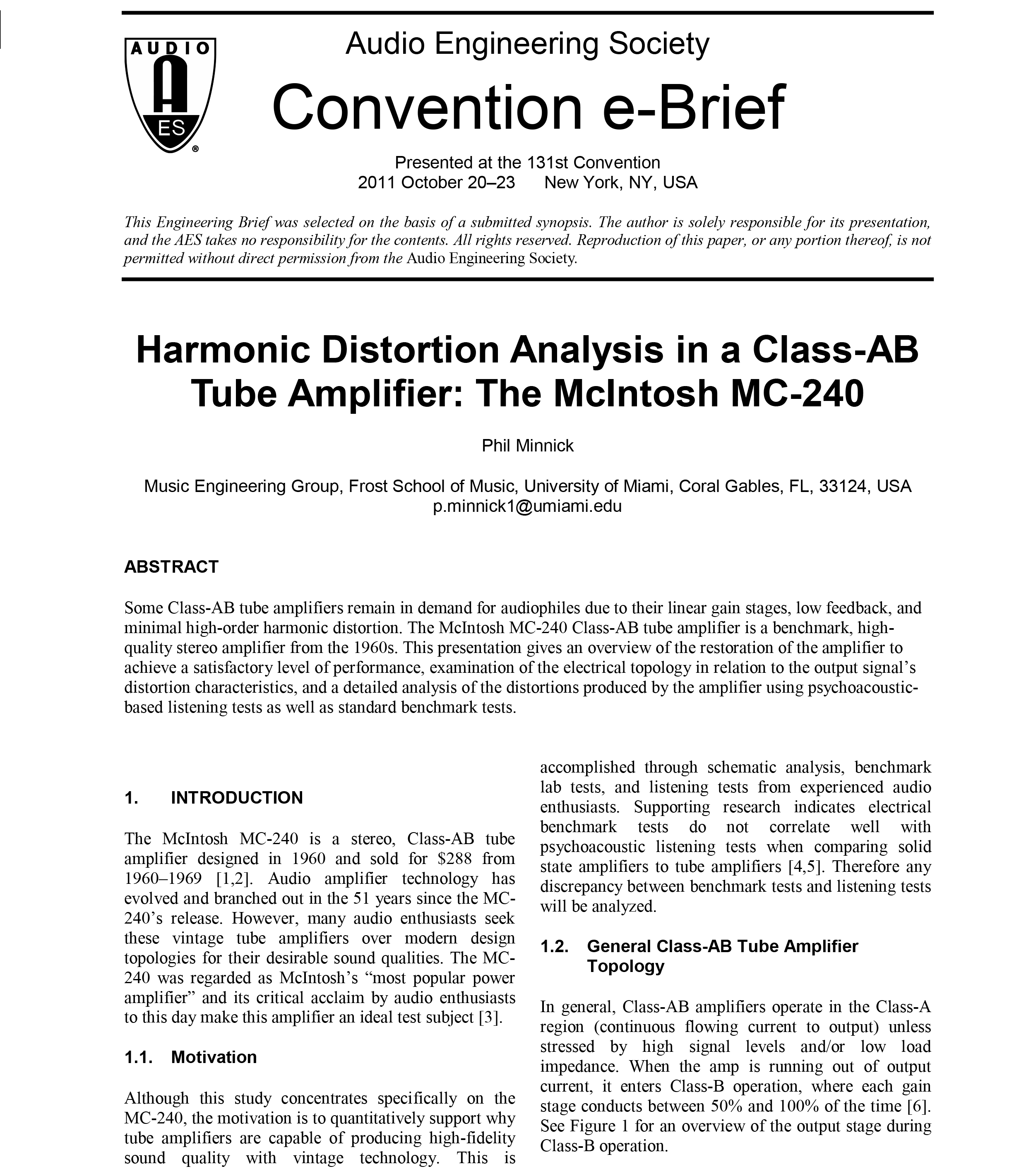 AES E-Library » Harmonic Distortion Analysis in a Class-AB