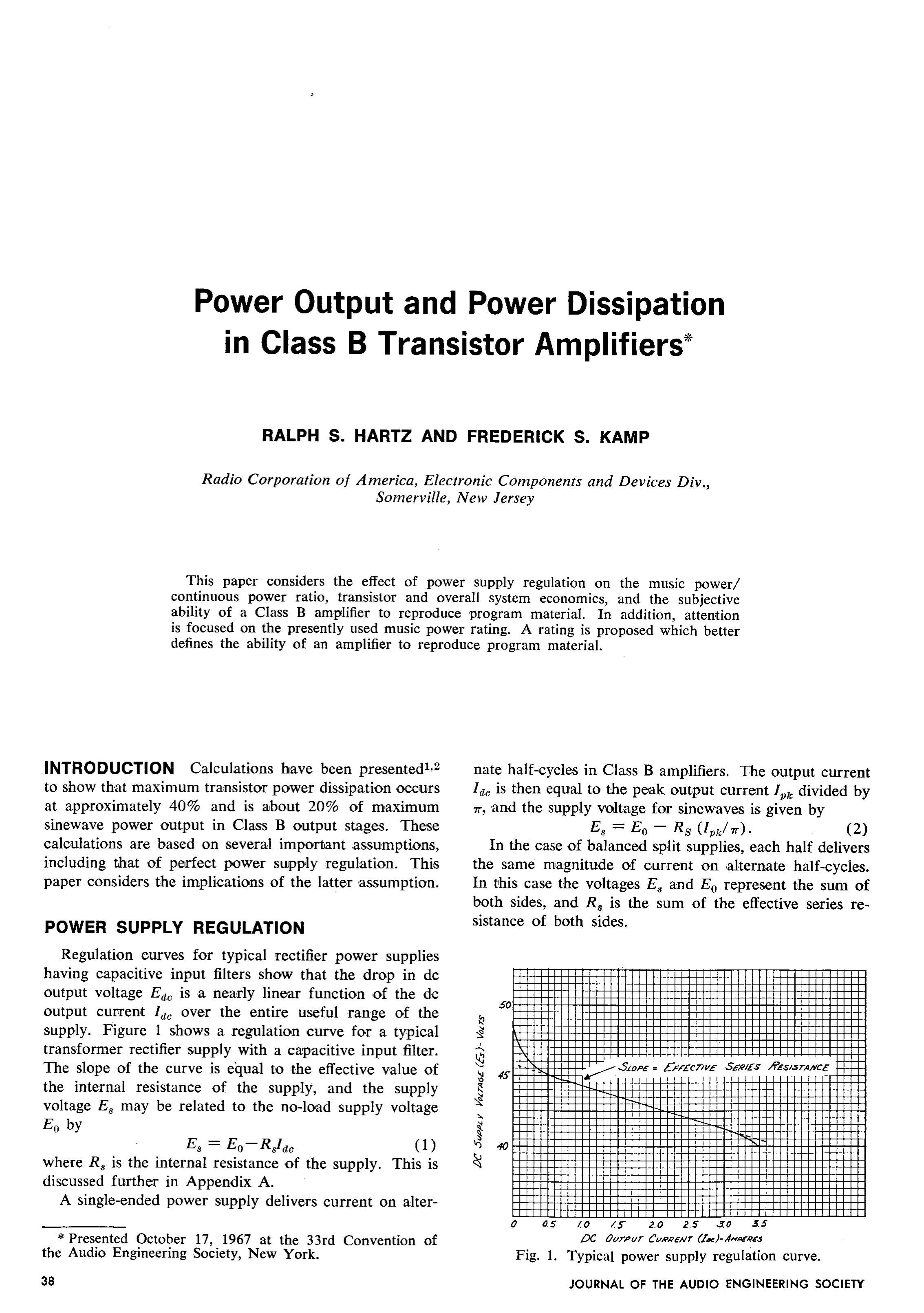 AES E-Library » Power Output and Power Dissipation in Class