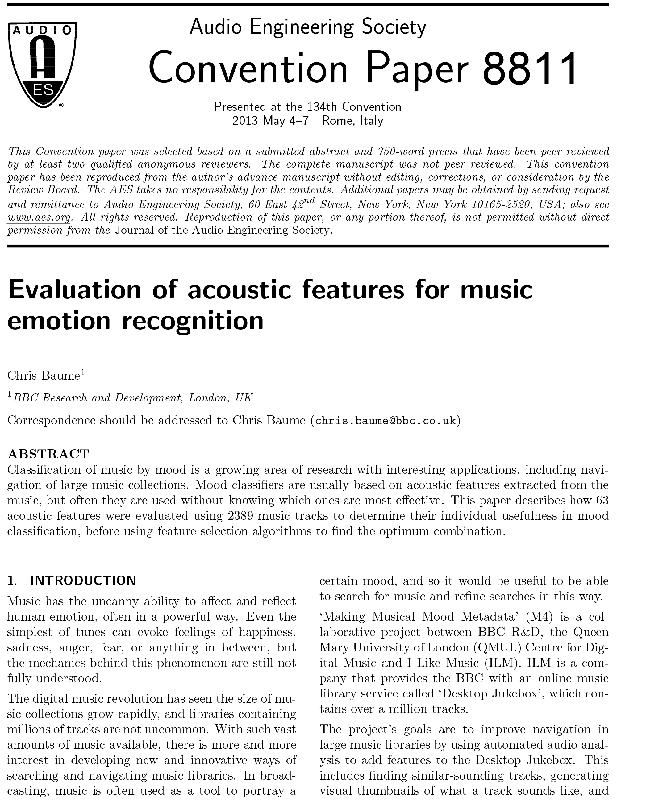 AES E-Library » Evaluation of Acoustic Features for Music