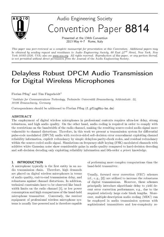 AES E-Library » Delayless Robust DPCM Audio Transmission for
