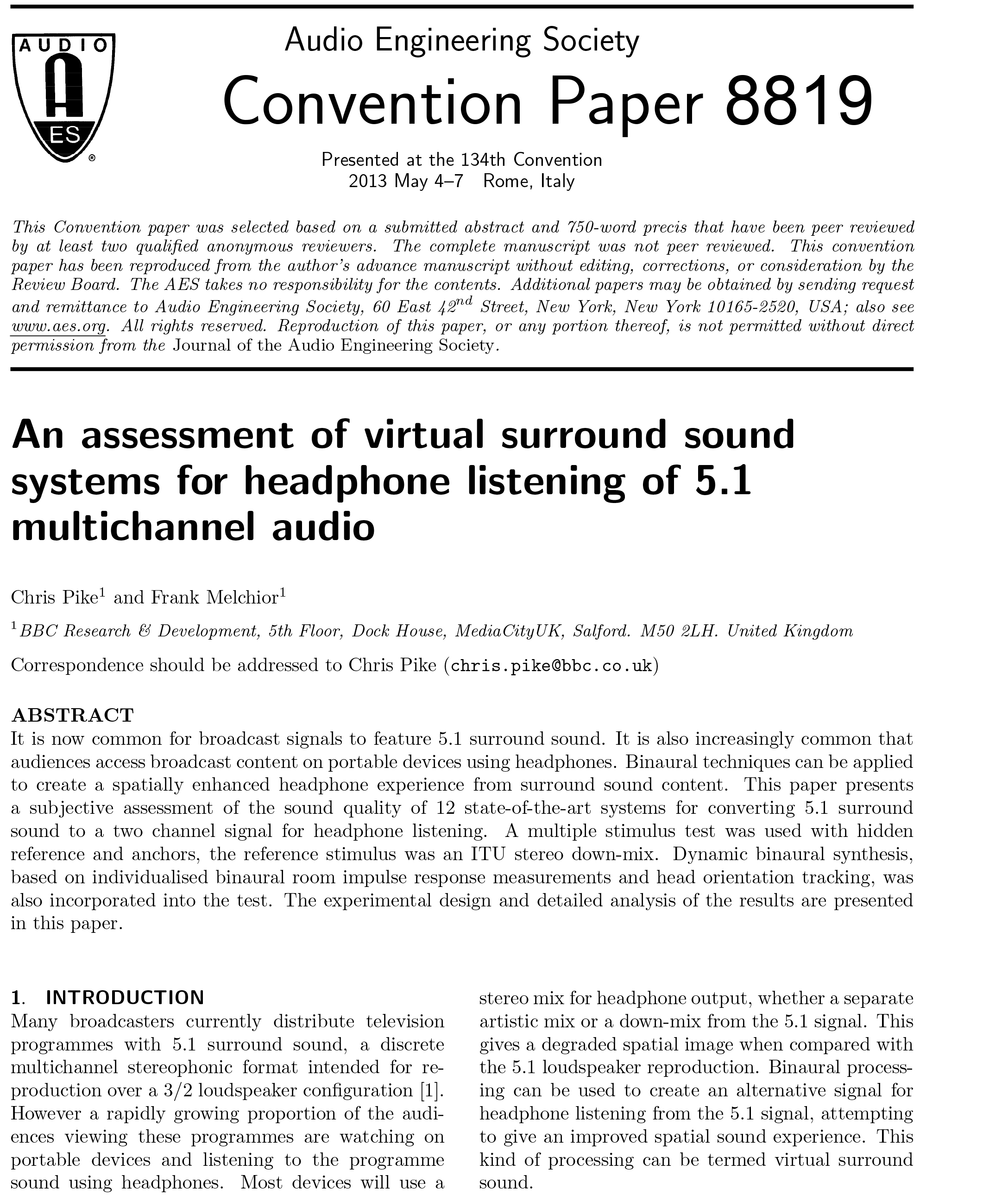 Aes E Library An Assessment Of Virtual Surround Sound Systems For Multi Channel Headphone Listening 51 Multichannel Audio