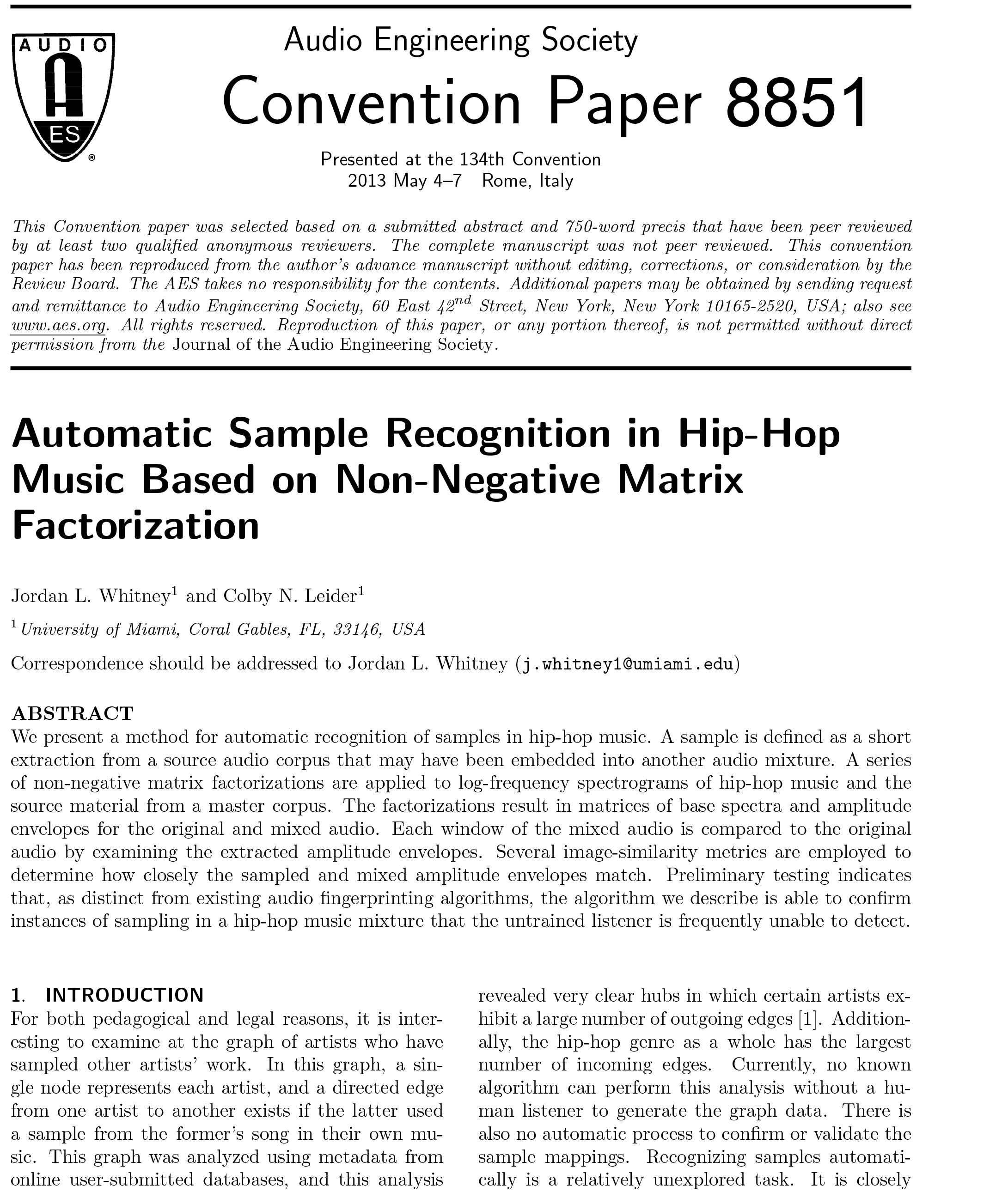 AES E-Library » Automatic Sample Recognition in Hip-Hop