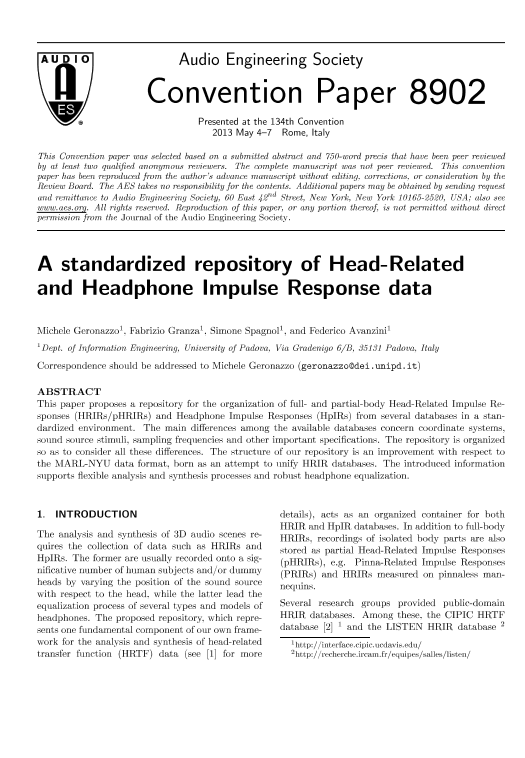 AES E-Library » A Standardized Repository of Head-Related