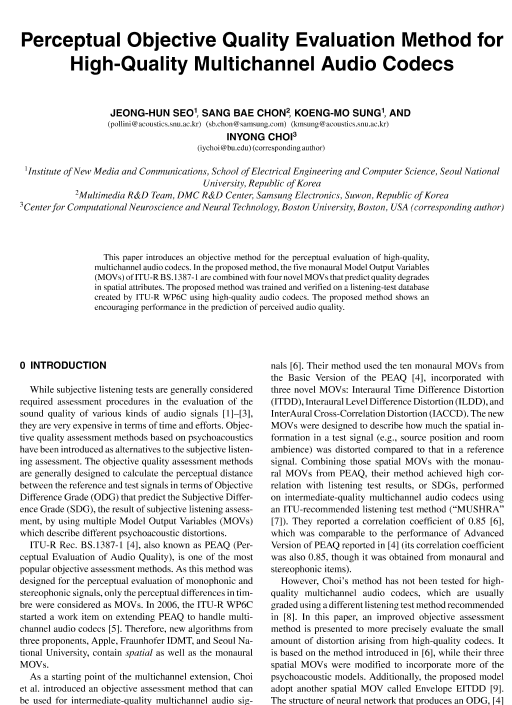 Aes E Library Perceptual Objective Quality Evaluation Method For
