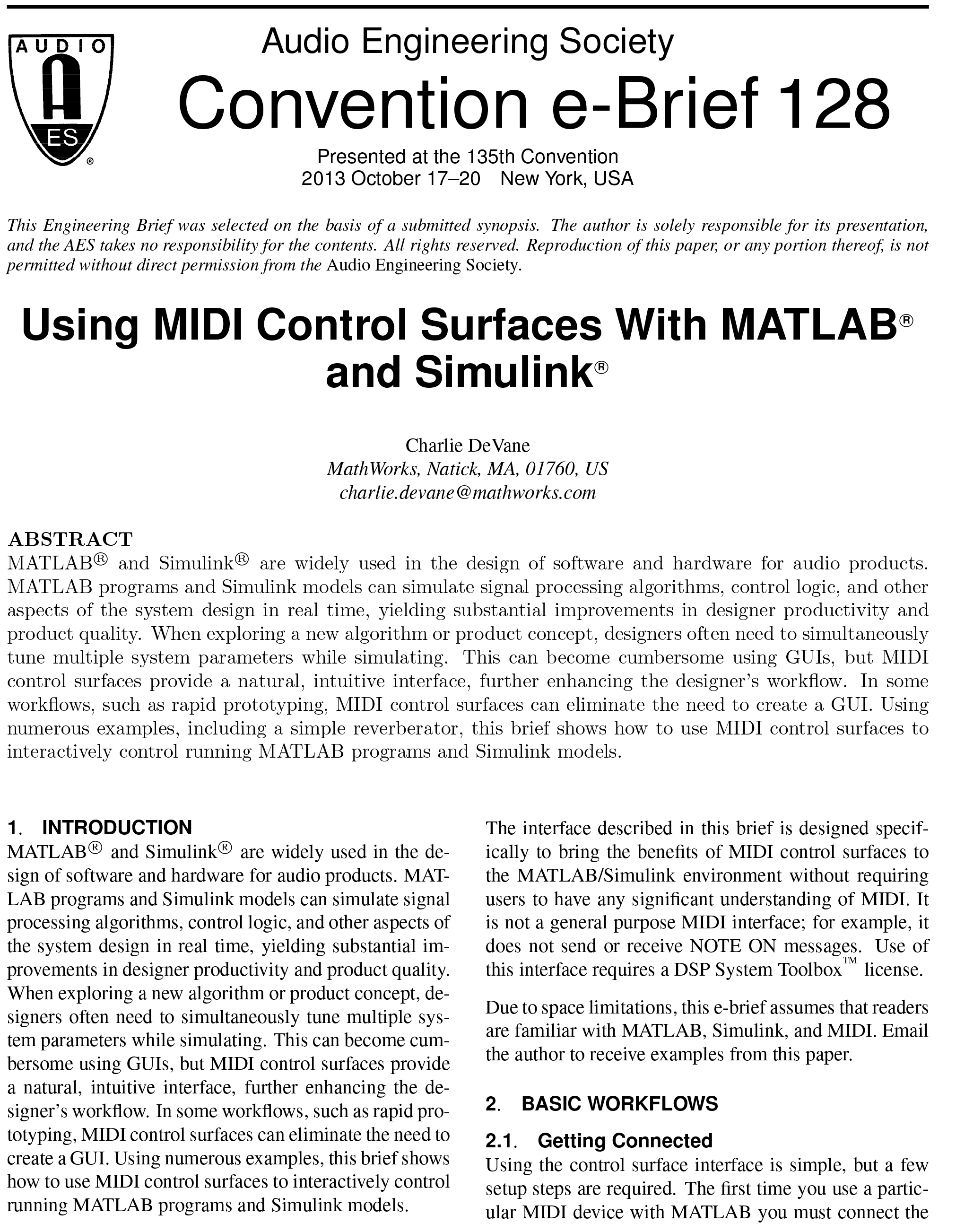 AES E-Library » Using MIDI Control Surfaces with MATLAB Programs and