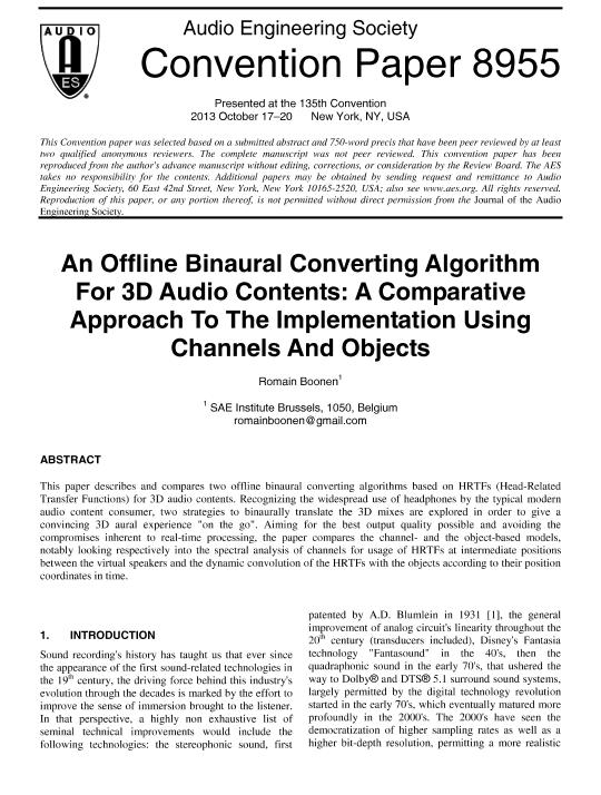 AES E-Library » An Offline Binaural Converting Algorithm for