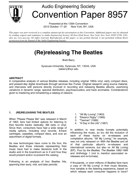 beatles research paper Not just the beatles assignment 3: not just the beatles due week 5 and worth 240 points you are the lead singer and manager of a new and quickly case studies, coursework, dissertations, editing, research papers, and research proposals header button label: get started now get started header.