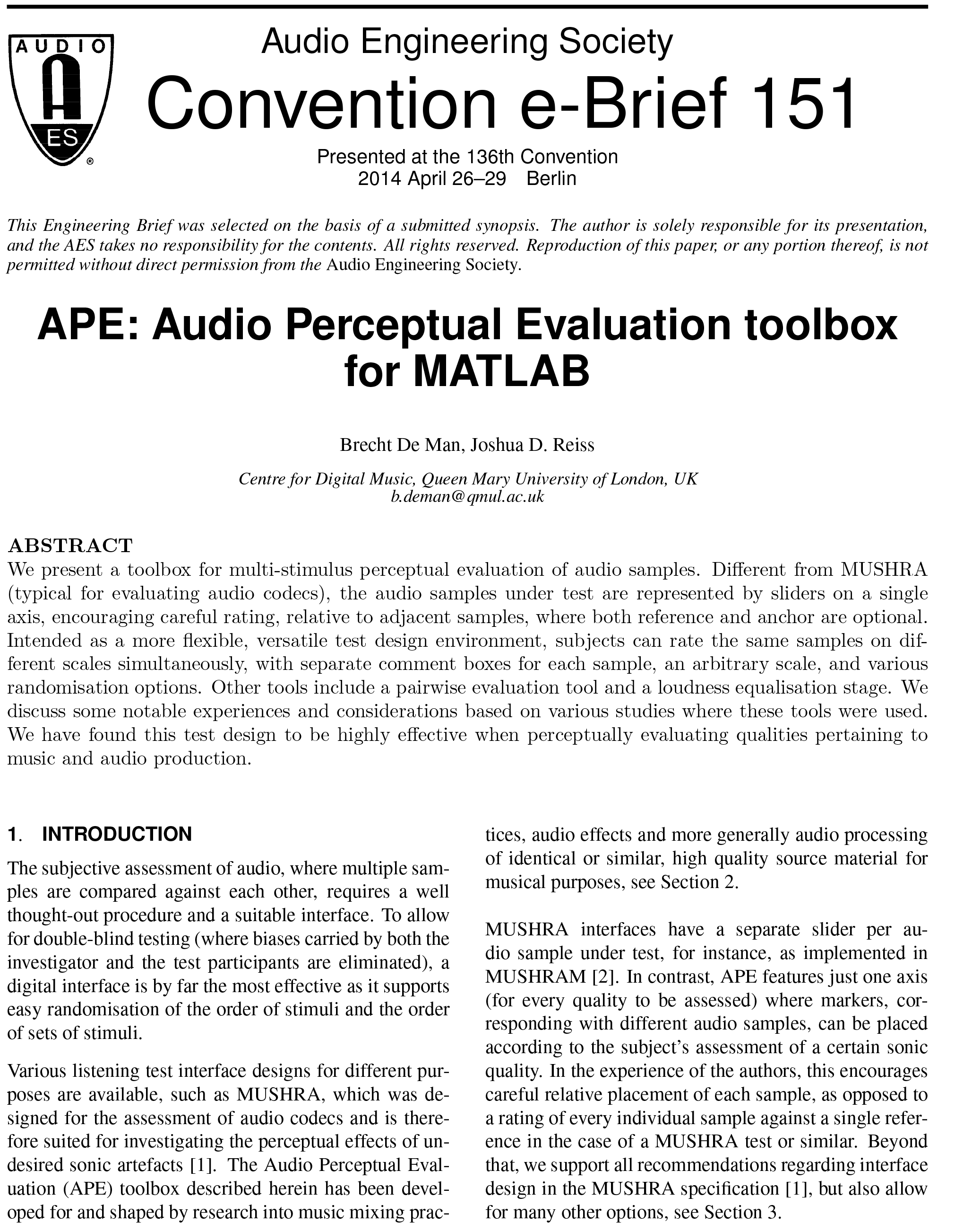 AES E-Library » APE: Audio Perceptual Evaluation Toolbox for MATLAB