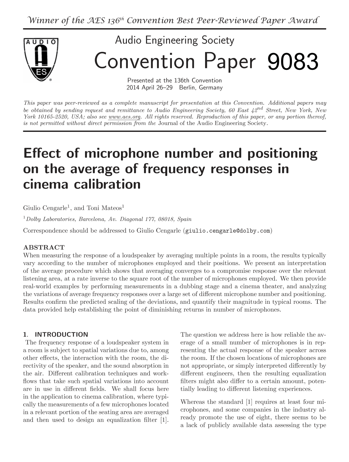 AES E-Library » Effect of Microphone Number and Positioning on the ...