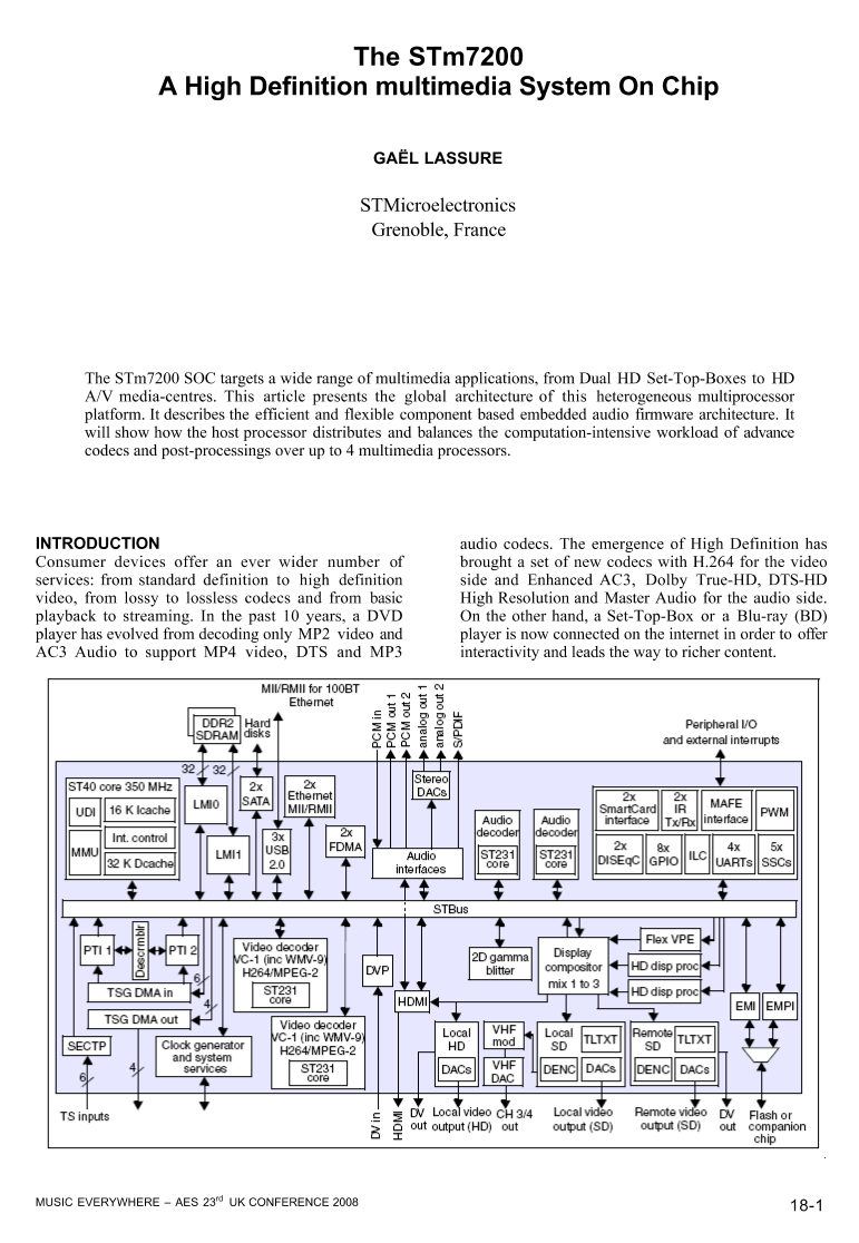 Aes E Library A High Definition Multimedia System On Chip H 264 Decoder Block Diagram