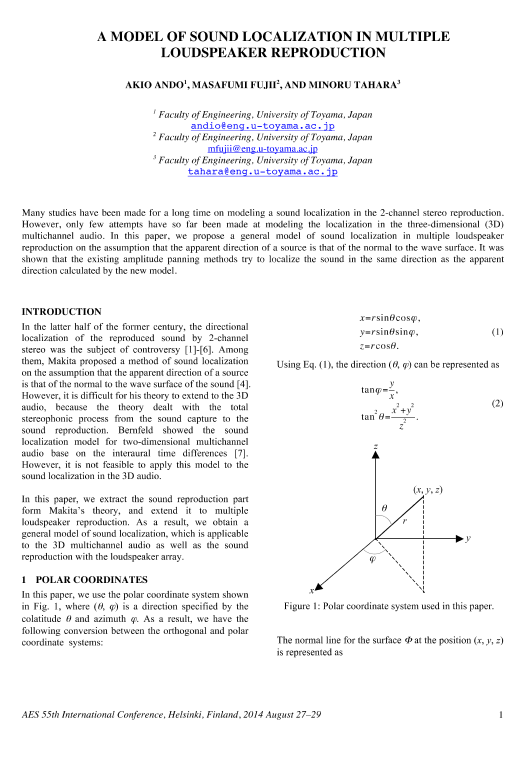 AES E-Library » A Model of Sound Localization in Multiple ...