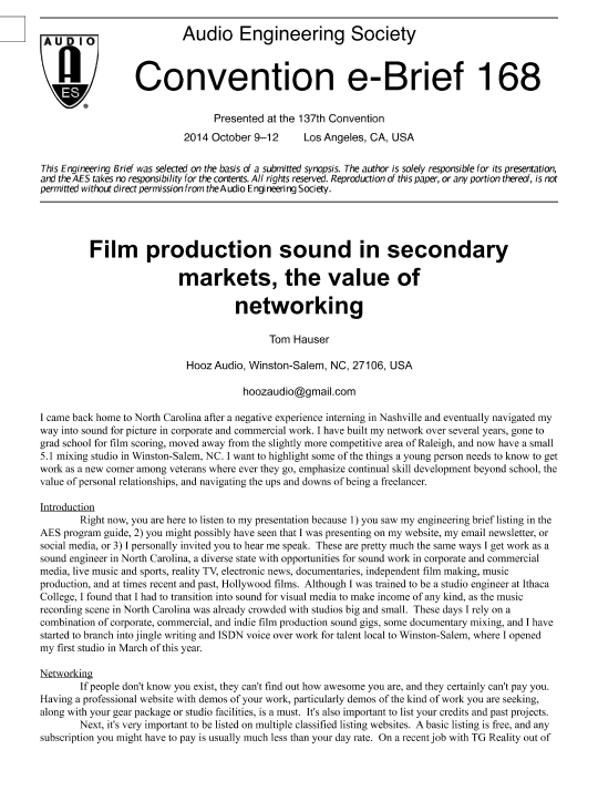 AES E-Library » Film Production Sound in Secondary Markets—The Value