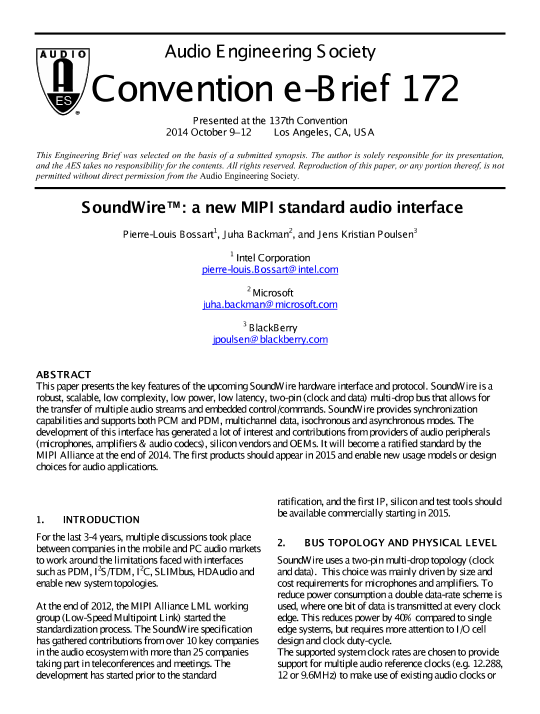 AES E-Library » SoundWire: A New MIPI Standard Audio Interface