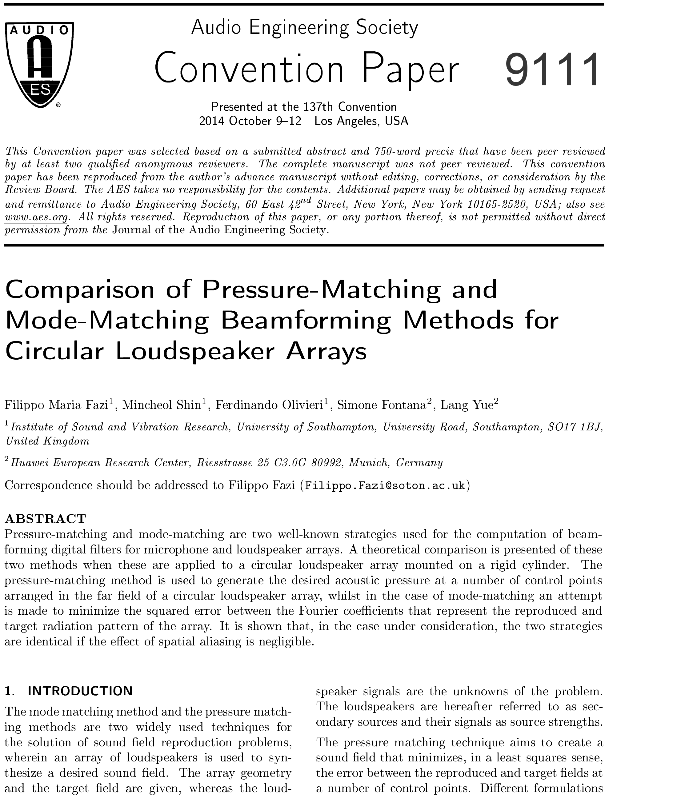 AES E-Library » Comparison of Pressure-Matching and Mode