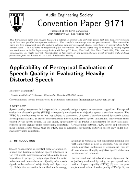 AES E-Library » Applicability of Perceptual Evaluation of Speech